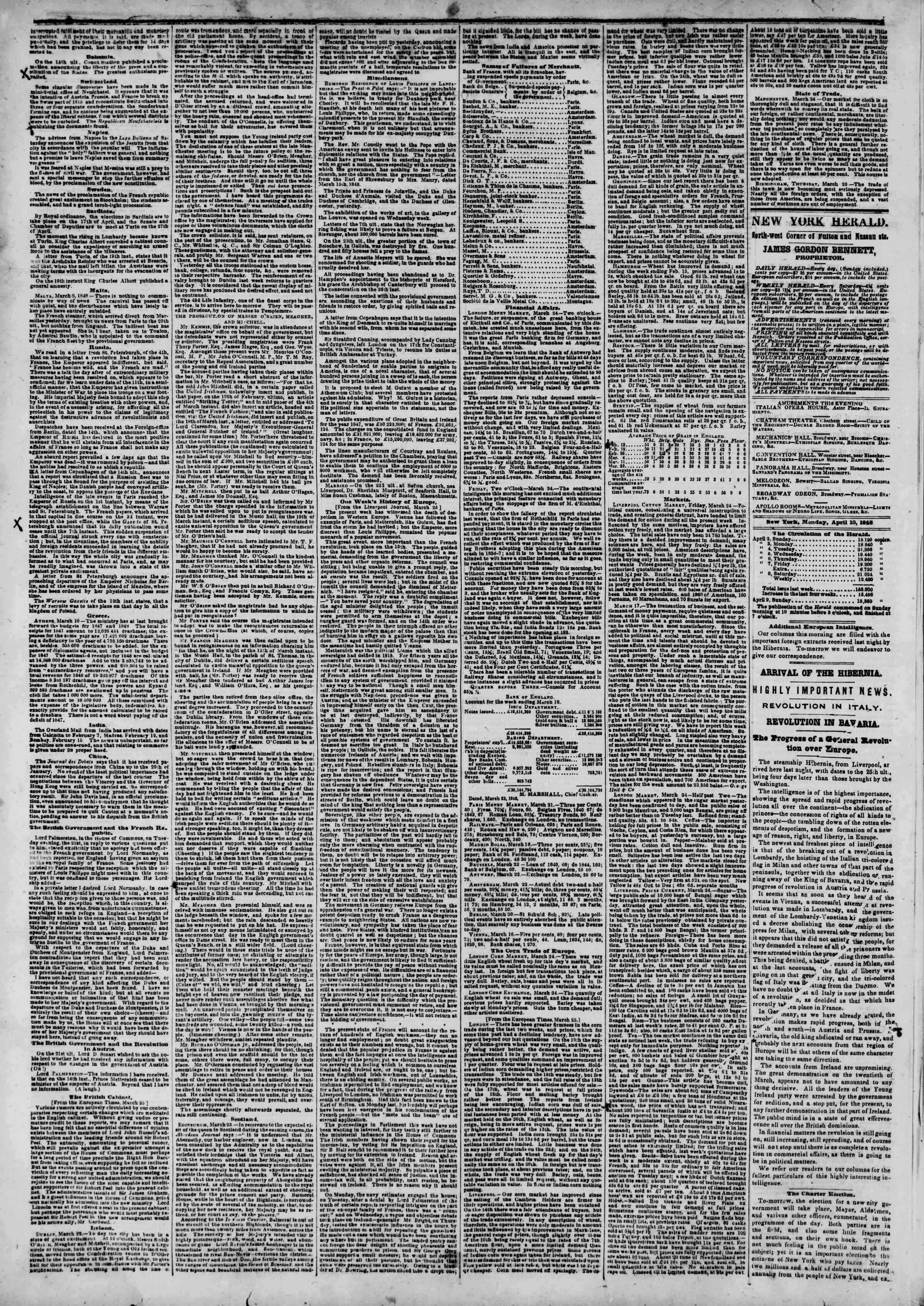 Newspaper of The New York Herald dated April 10, 1848 Page 2