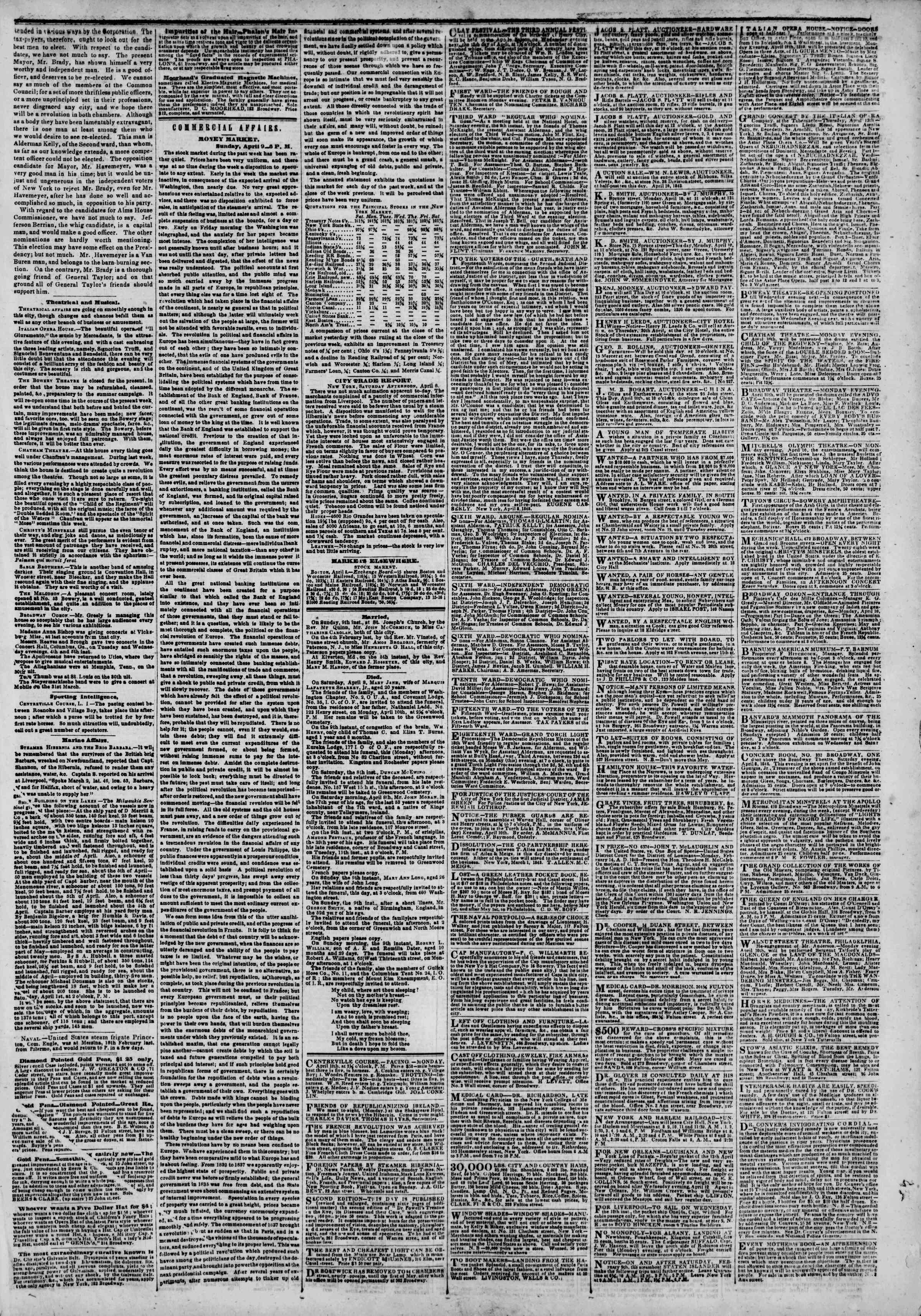 Newspaper of The New York Herald dated April 10, 1848 Page 3