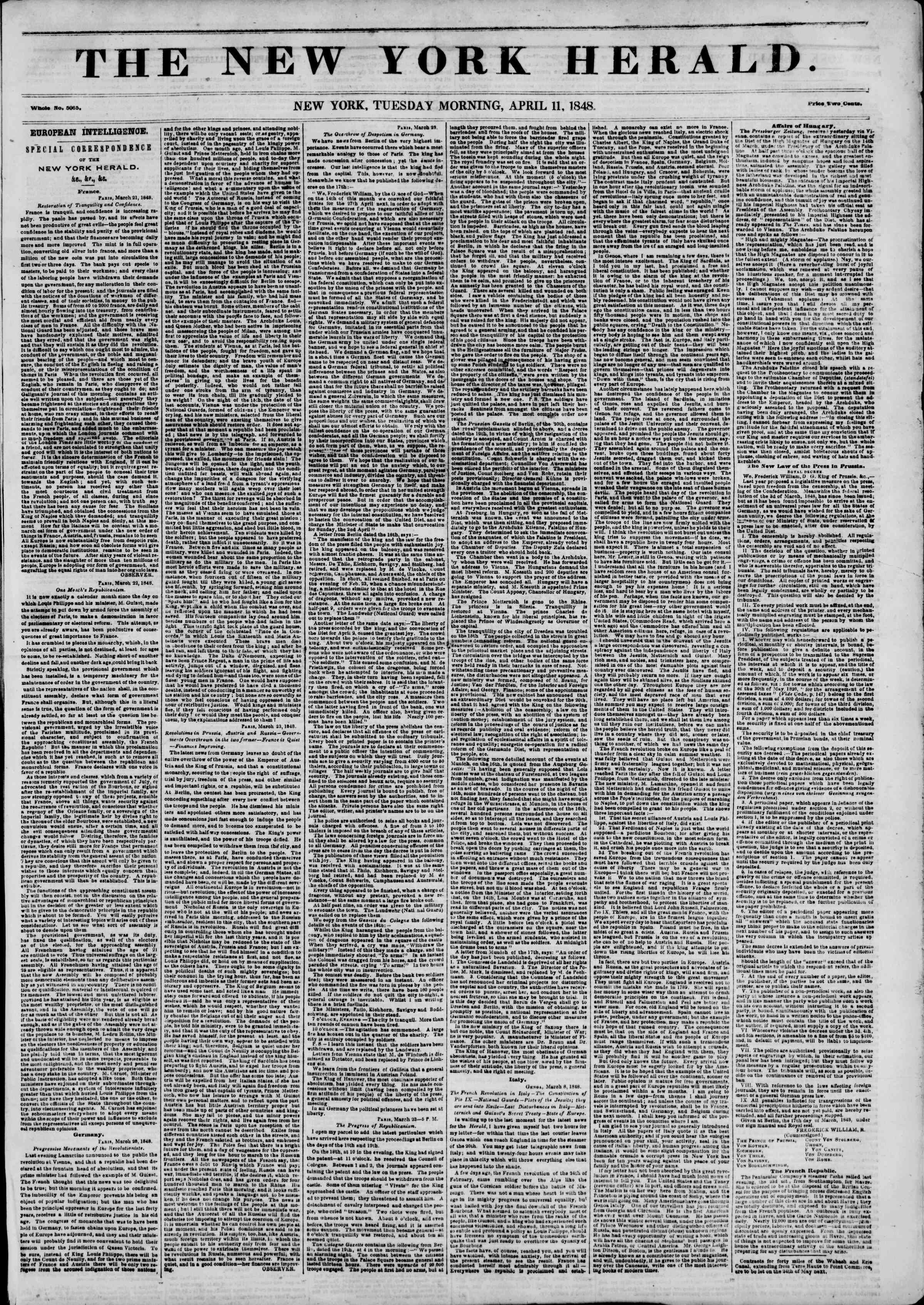 Newspaper of The New York Herald dated April 11, 1848 Page 1