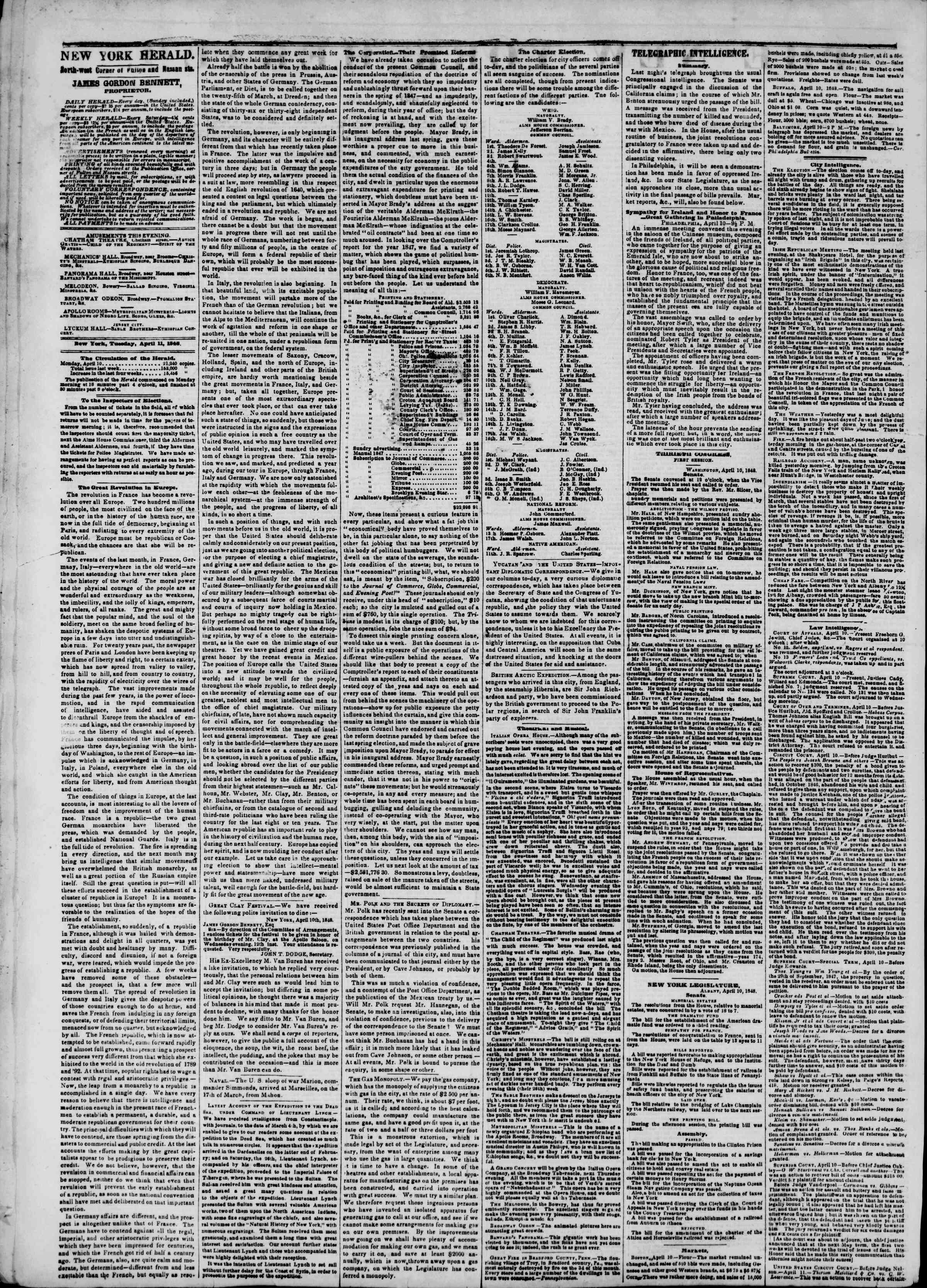 Newspaper of The New York Herald dated April 11, 1848 Page 2
