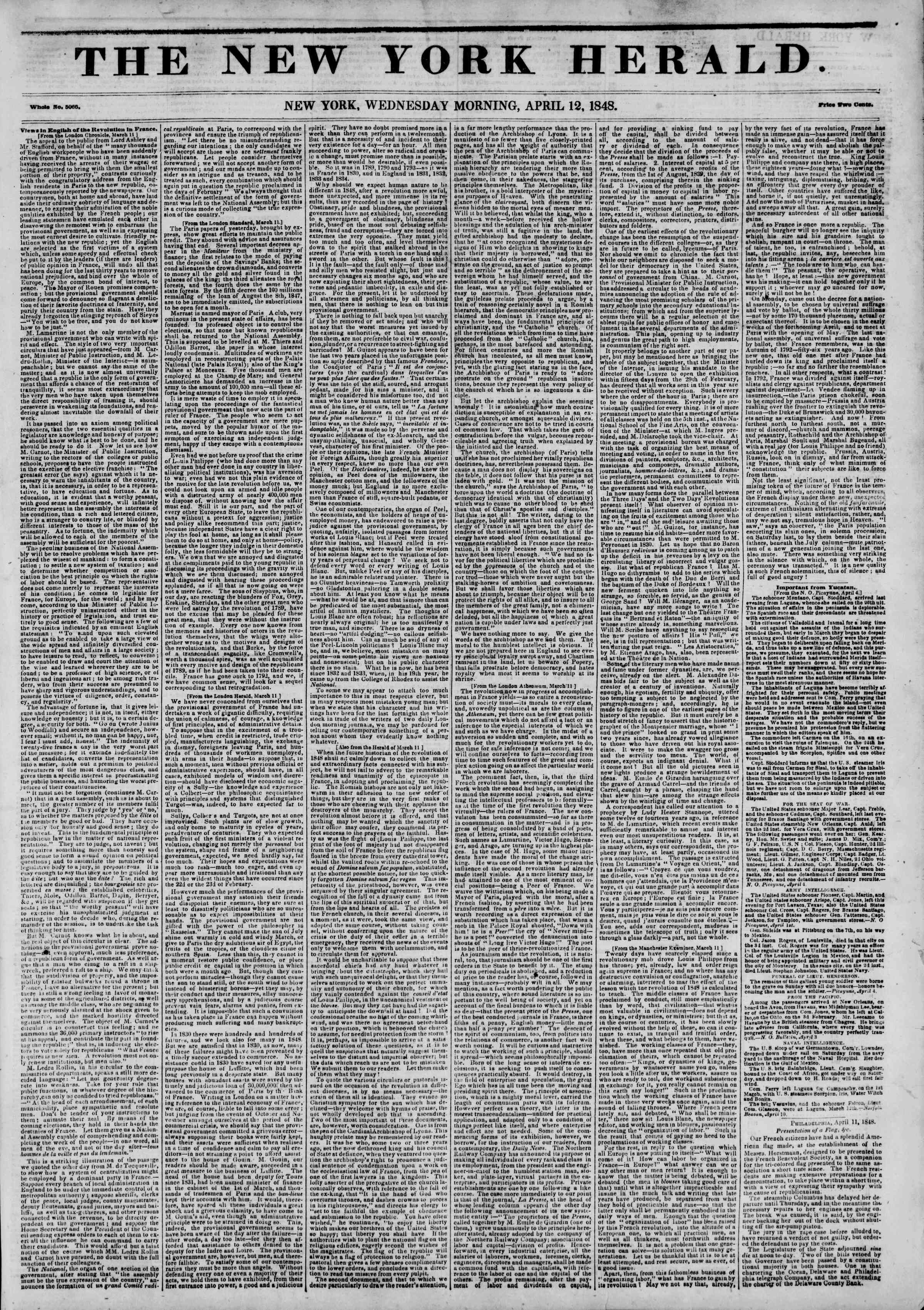 Newspaper of The New York Herald dated April 12, 1848 Page 1