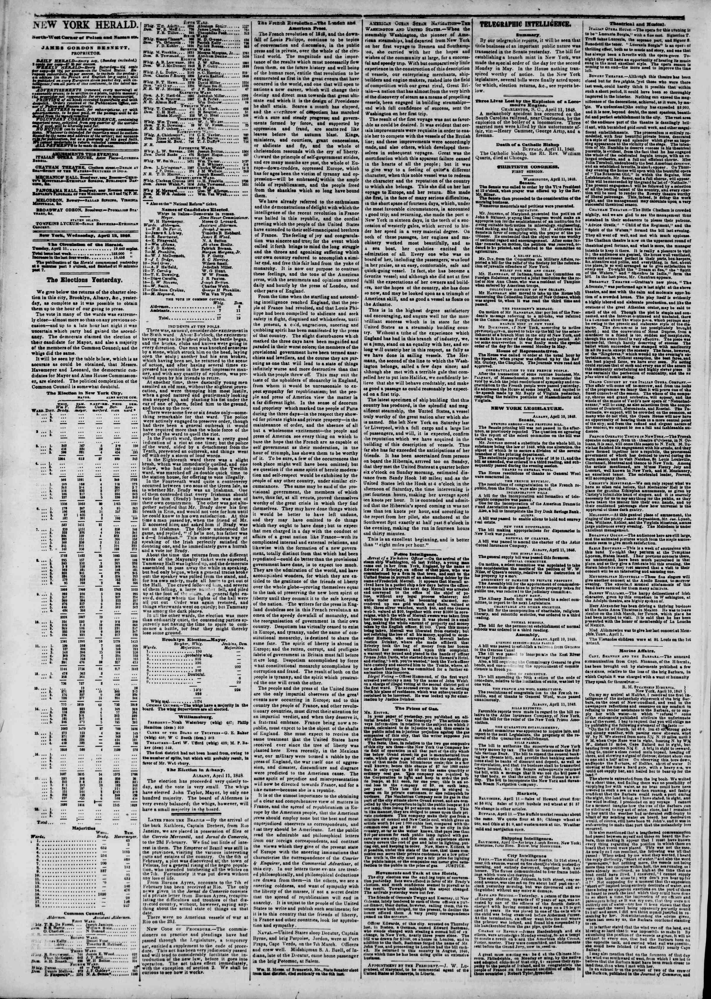 Newspaper of The New York Herald dated April 12, 1848 Page 2