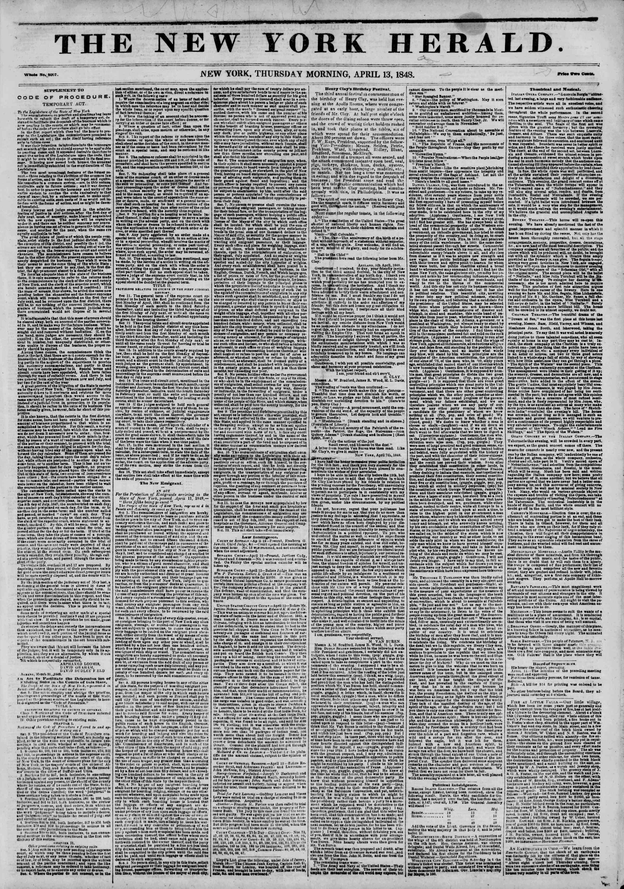 Newspaper of The New York Herald dated April 13, 1848 Page 1