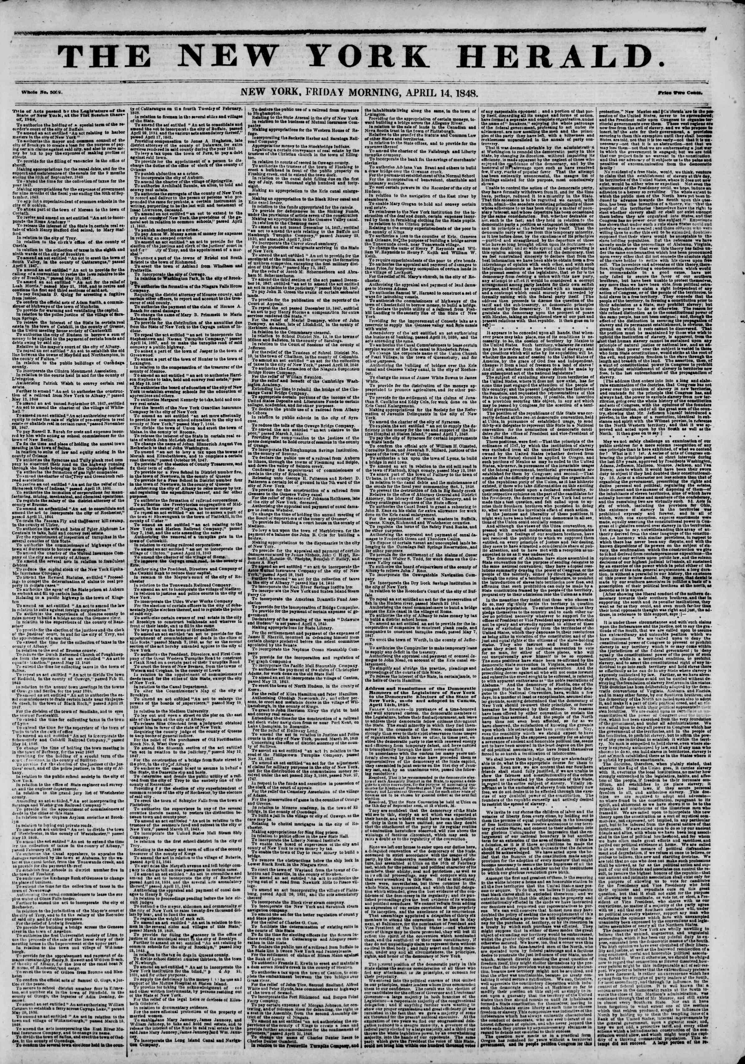 Newspaper of The New York Herald dated April 14, 1848 Page 1