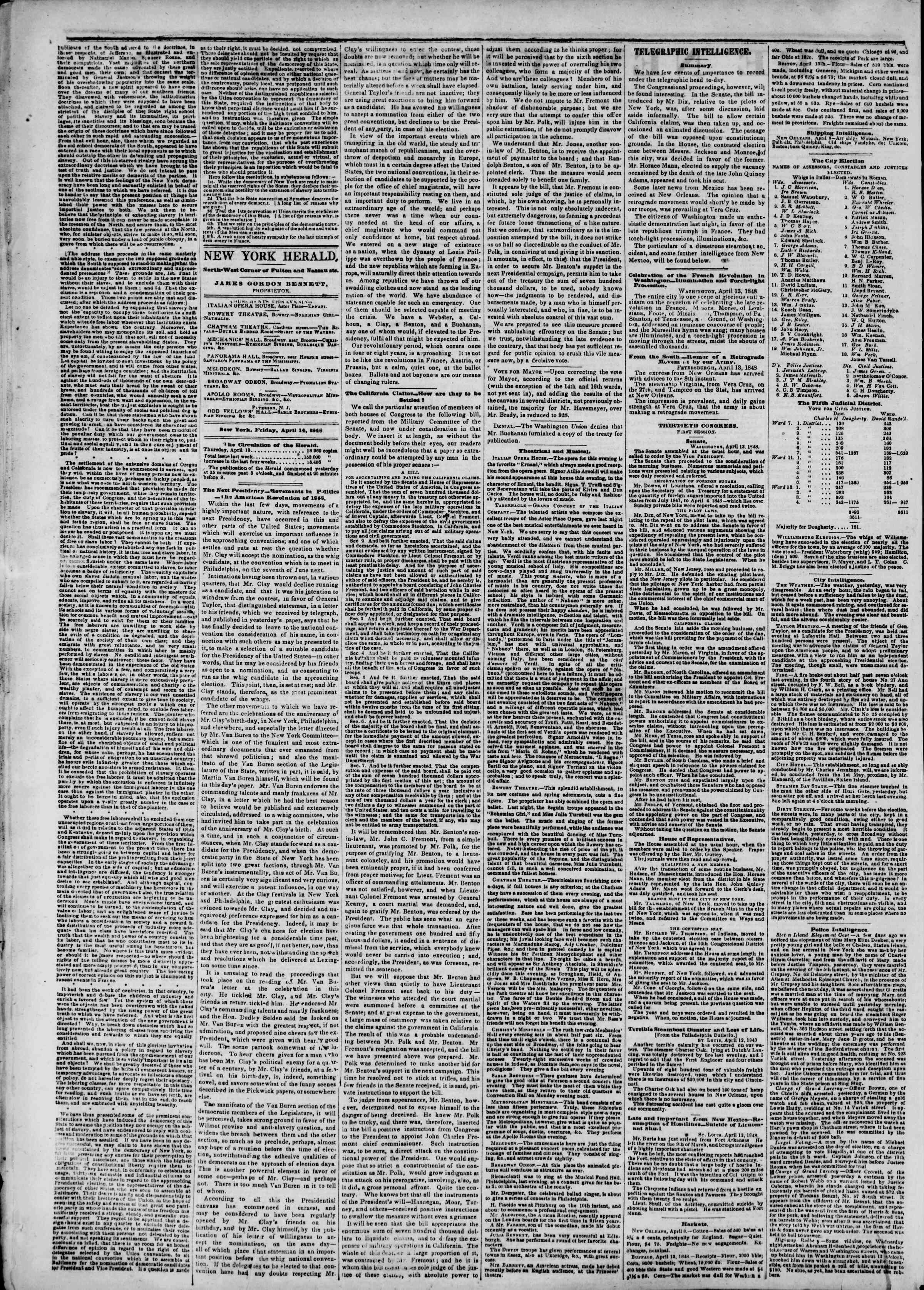 Newspaper of The New York Herald dated April 14, 1848 Page 2