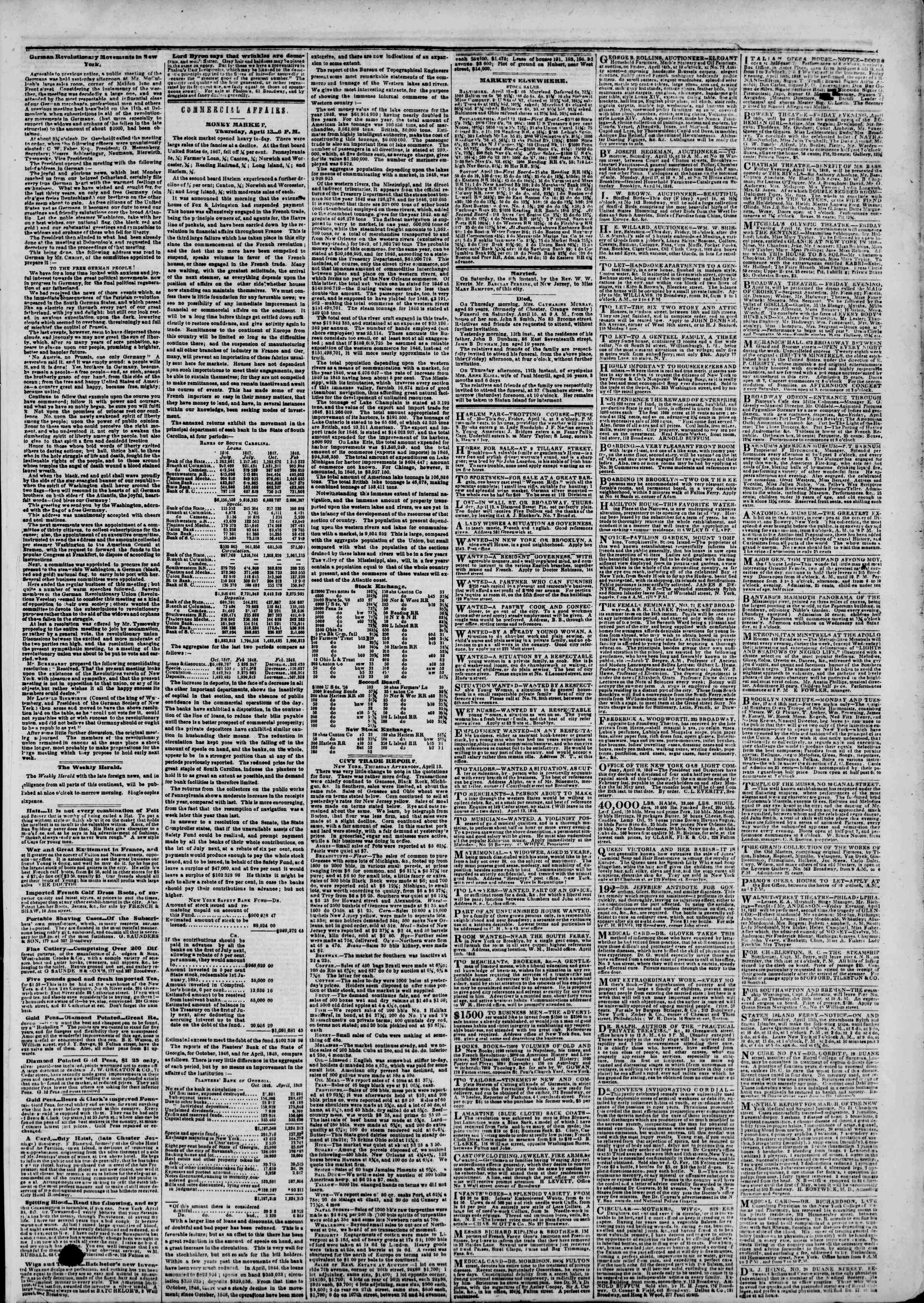 Newspaper of The New York Herald dated April 14, 1848 Page 3