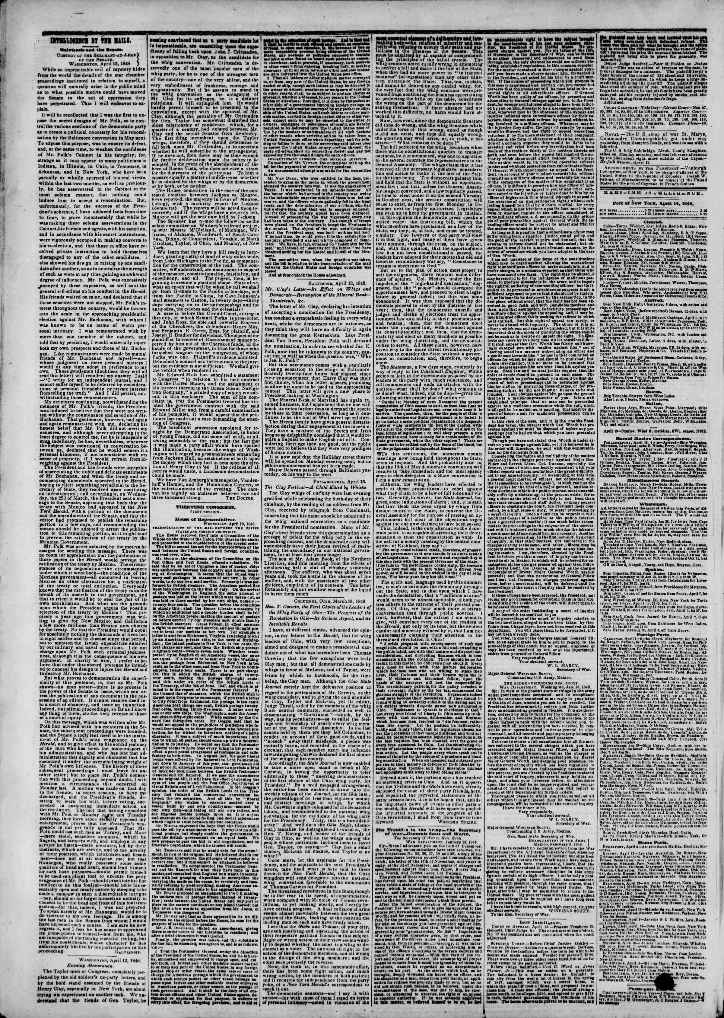 Newspaper of The New York Herald dated April 14, 1848 Page 4