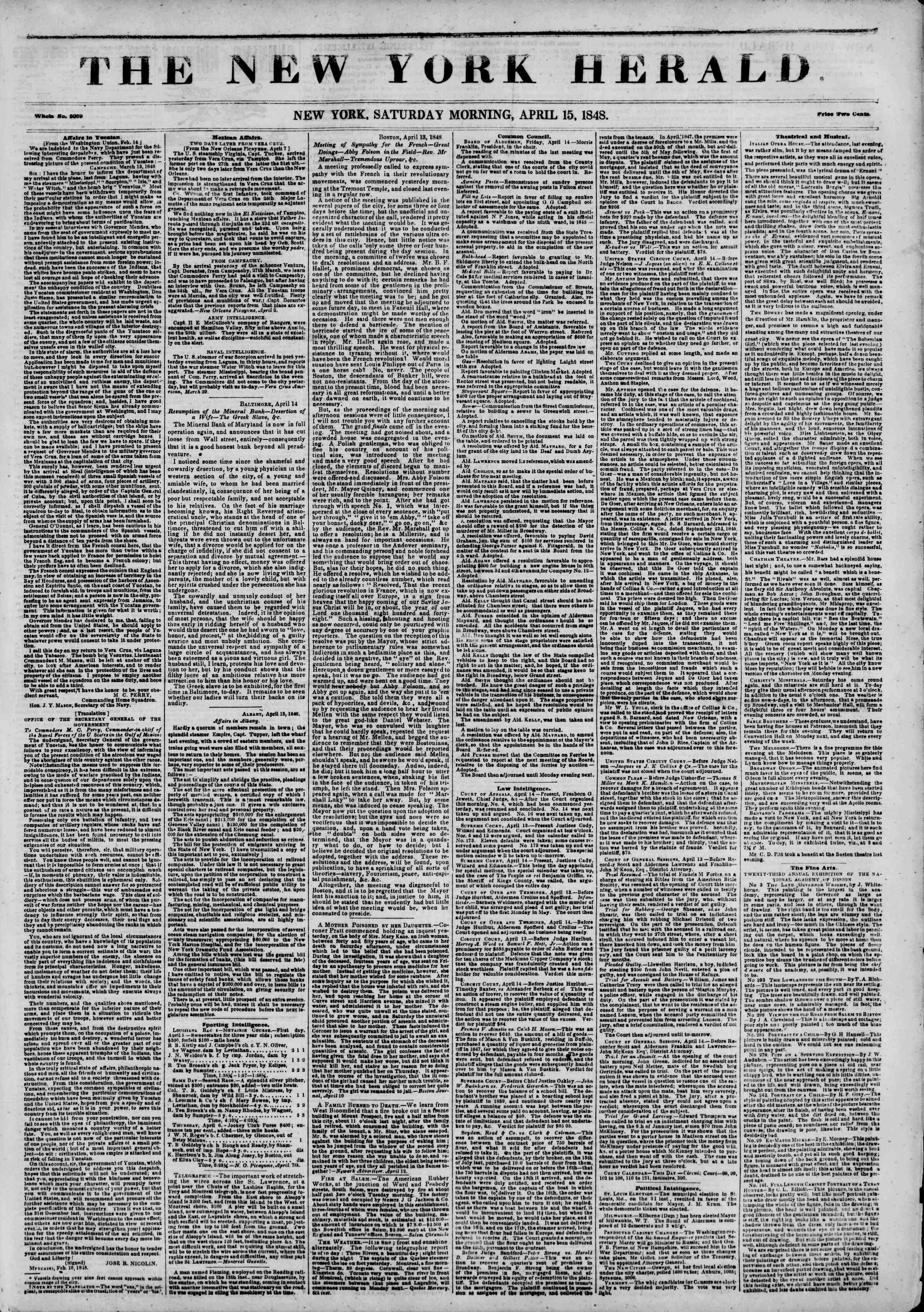Newspaper of The New York Herald dated April 15, 1848 Page 1