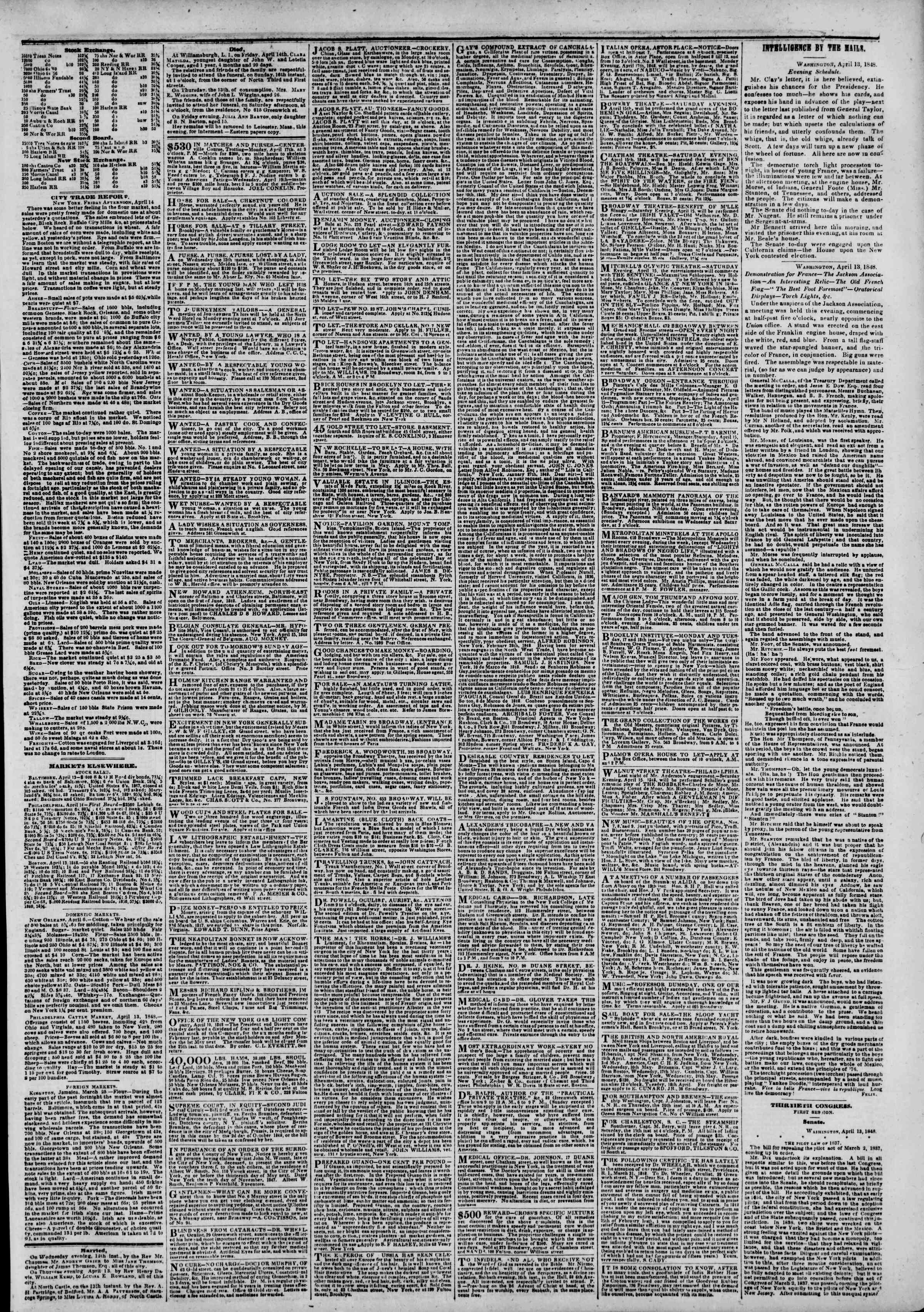 Newspaper of The New York Herald dated April 15, 1848 Page 3