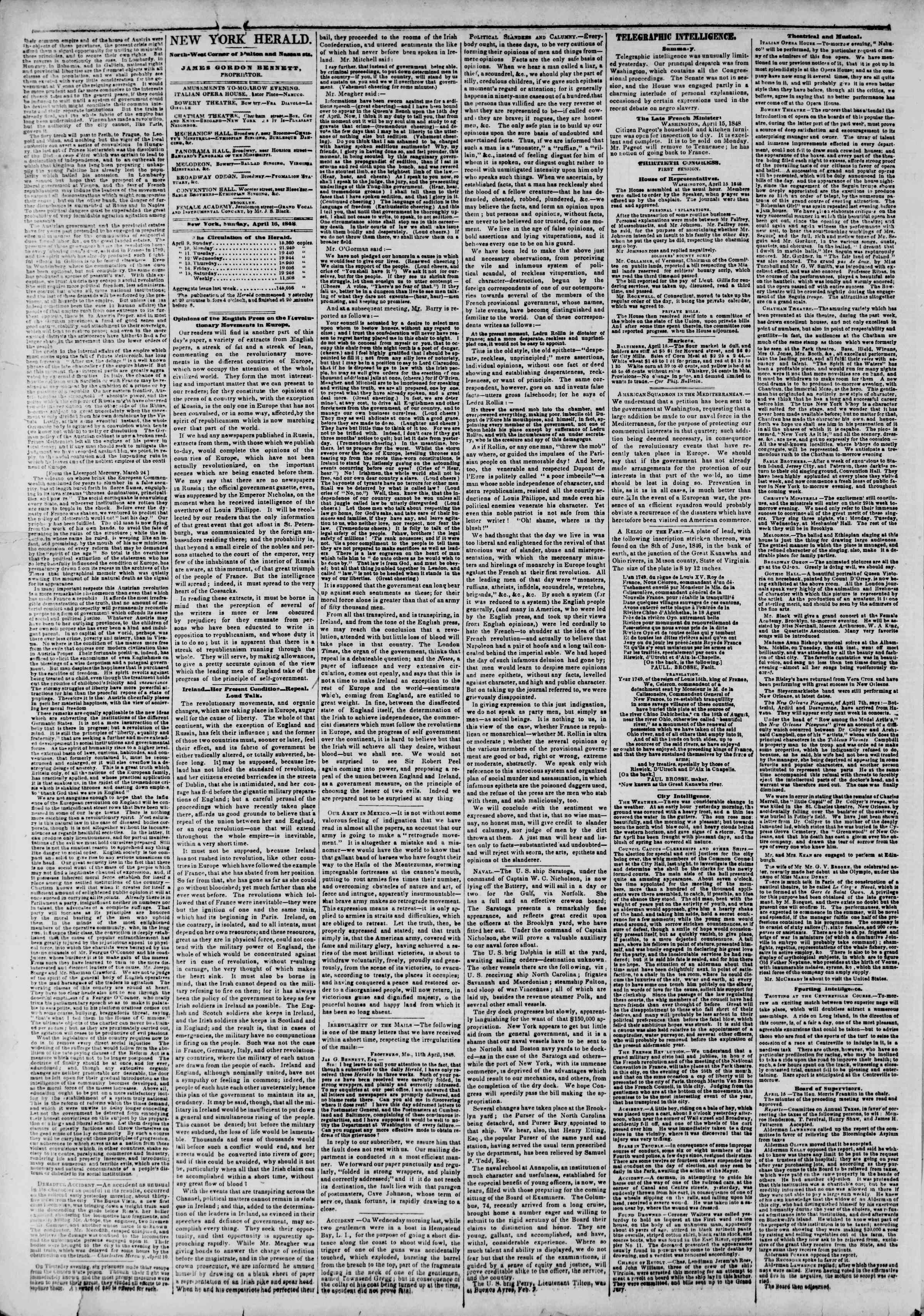 Newspaper of The New York Herald dated April 16, 1848 Page 2