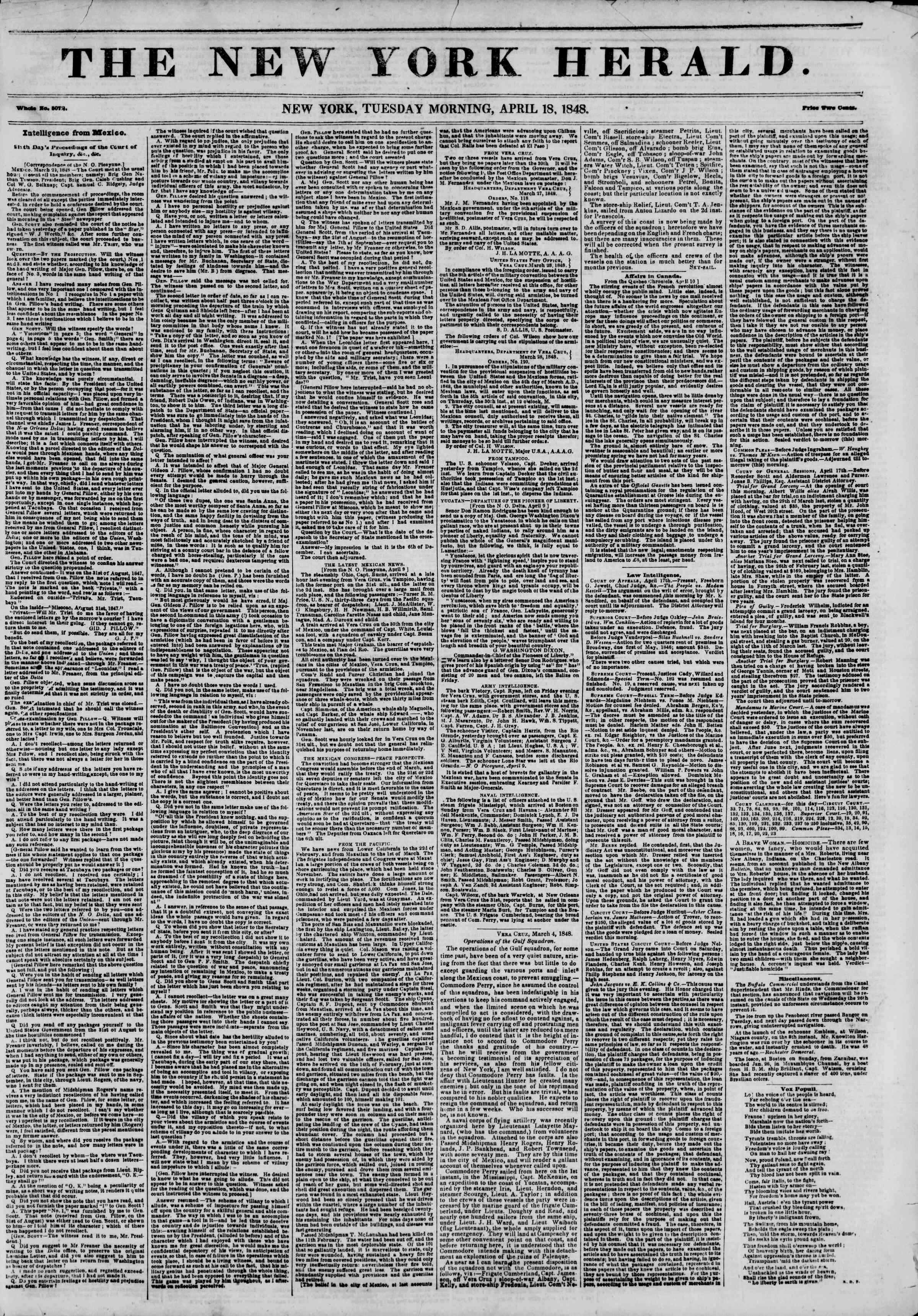 18 Nisan 1848 tarihli The New York Herald Gazetesi Sayfa 1