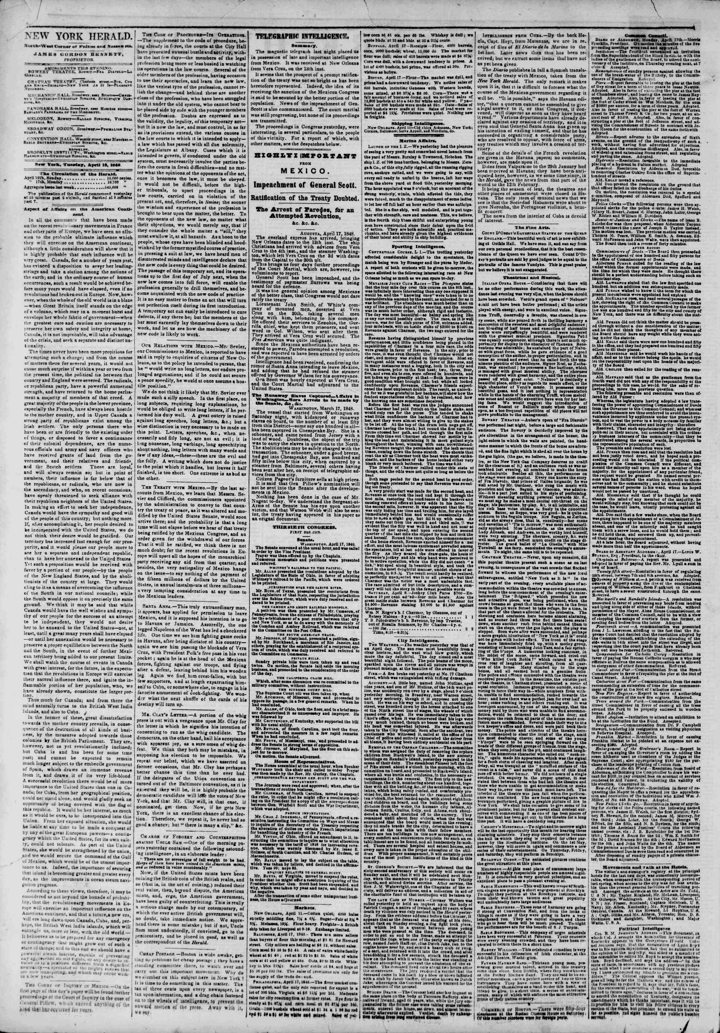 Newspaper of The New York Herald dated April 18, 1848 Page 2