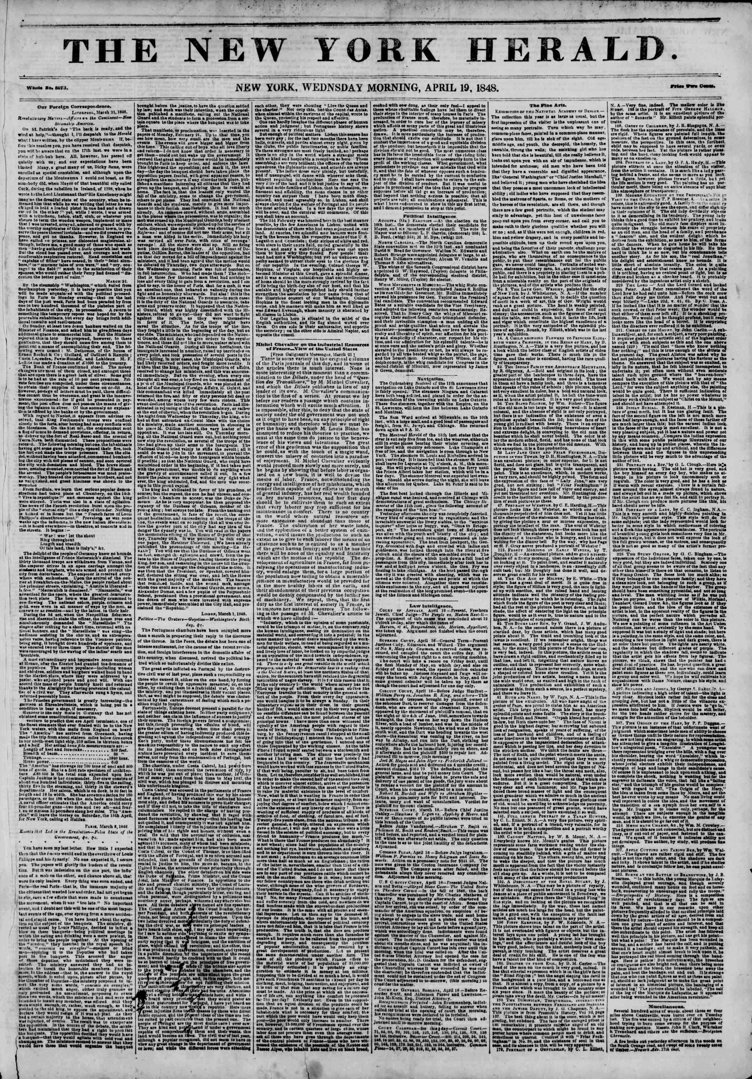 Newspaper of The New York Herald dated April 19, 1848 Page 1