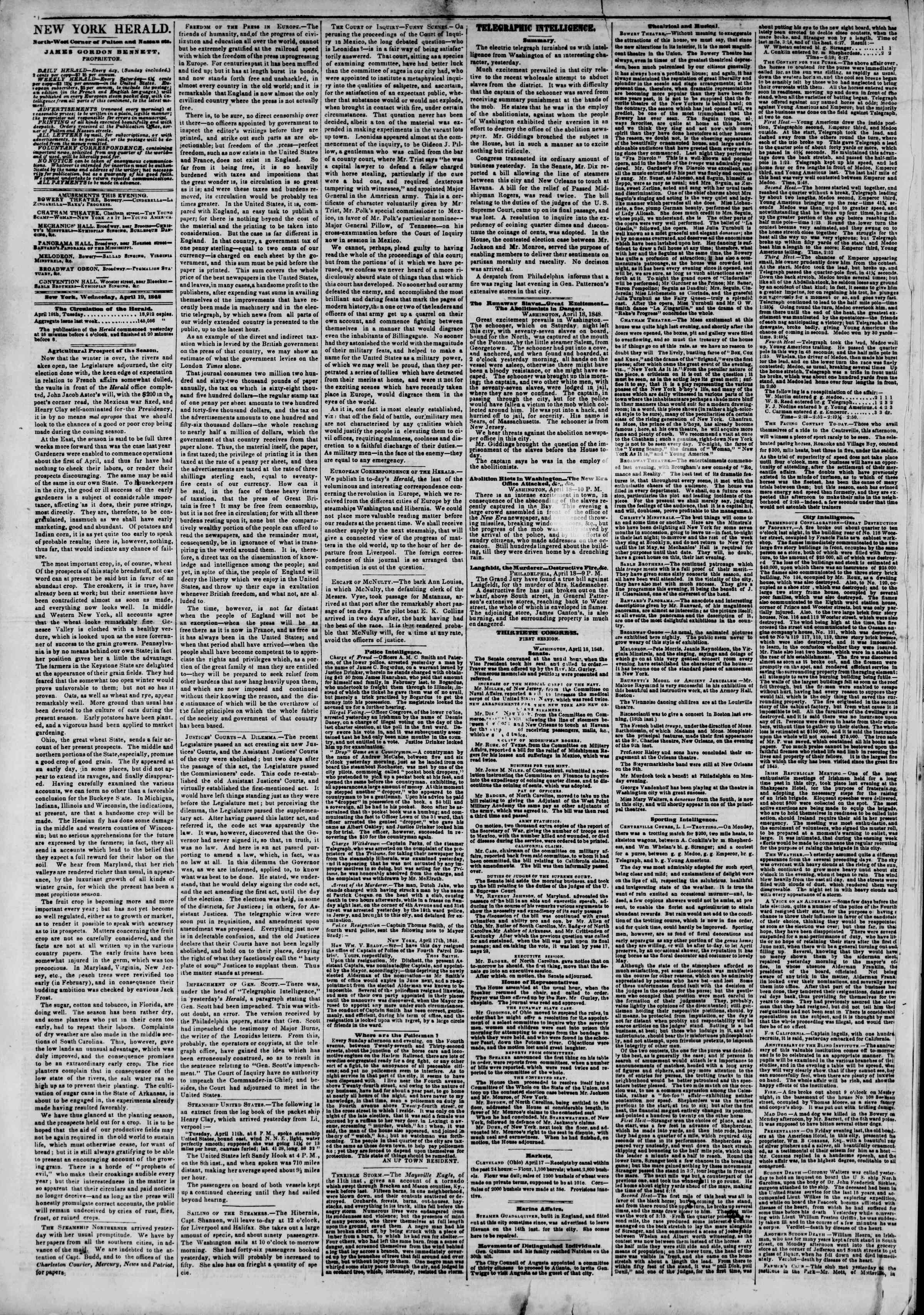 Newspaper of The New York Herald dated April 19, 1848 Page 2