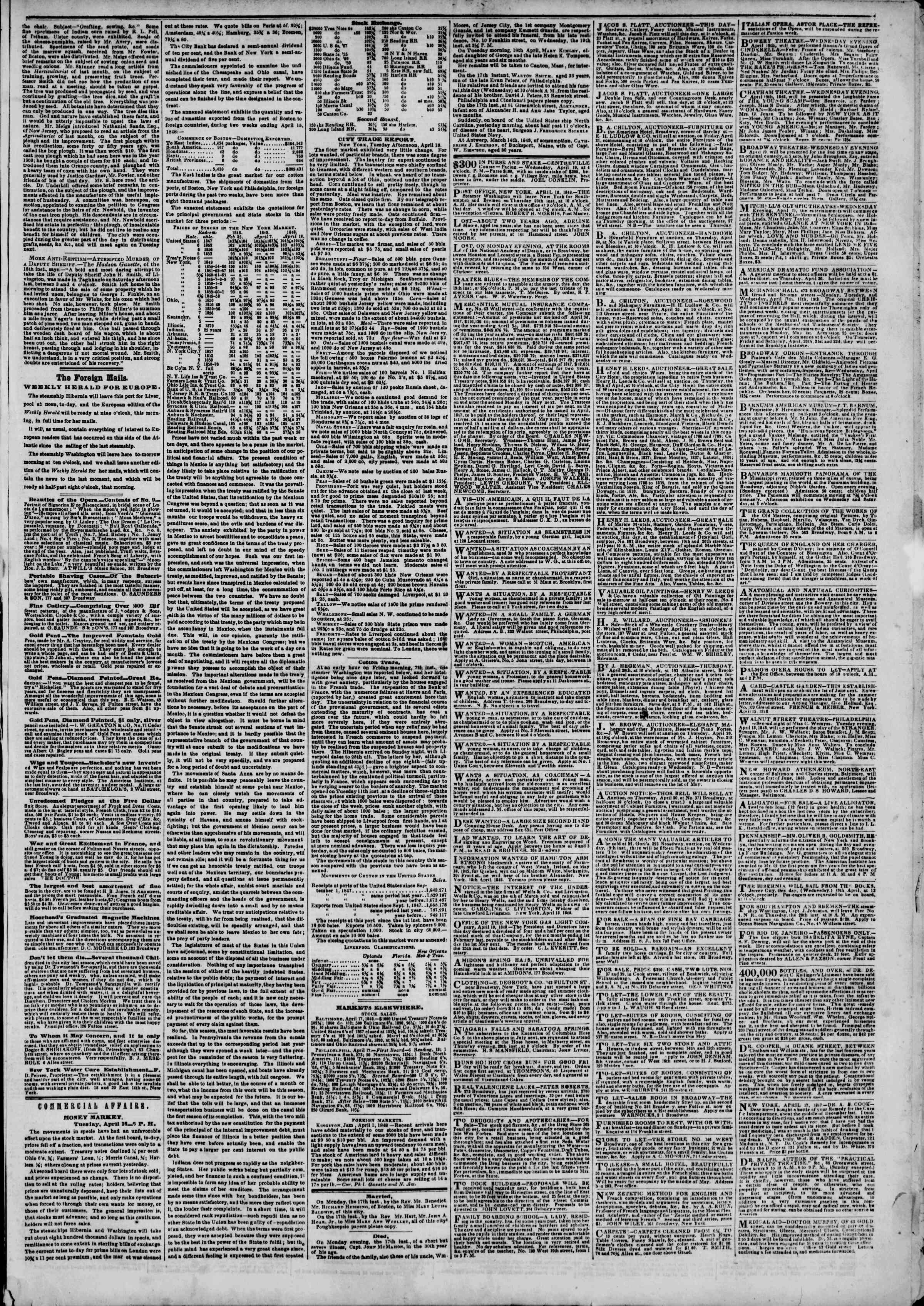 Newspaper of The New York Herald dated April 19, 1848 Page 3