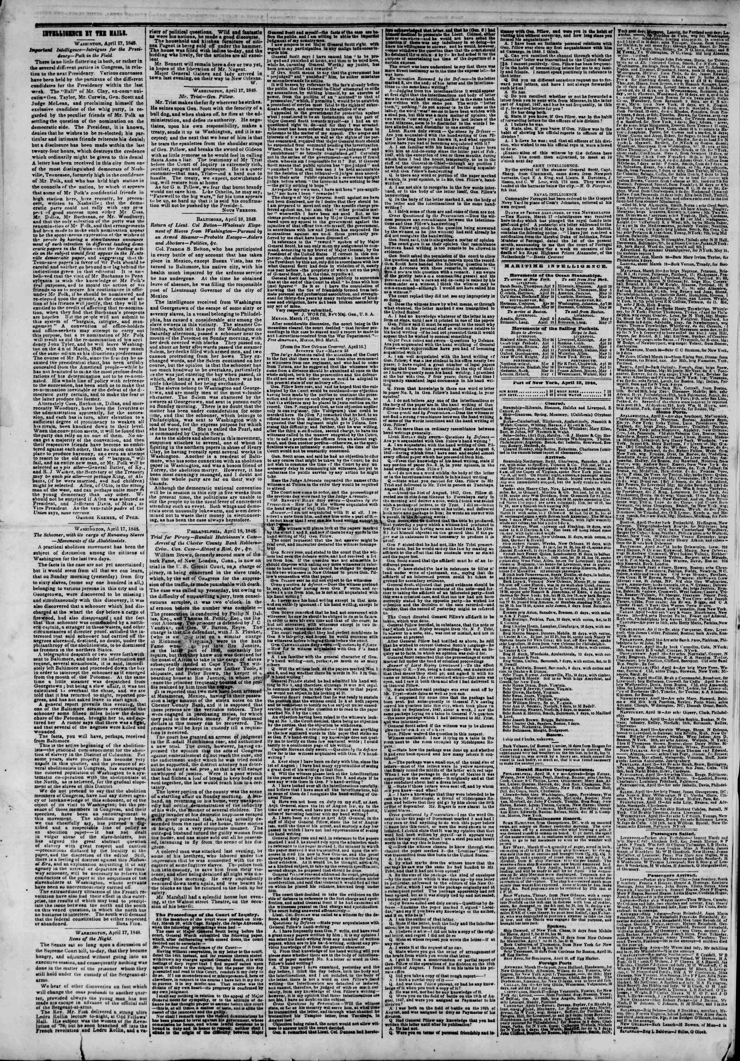 Newspaper of The New York Herald dated April 19, 1848 Page 4