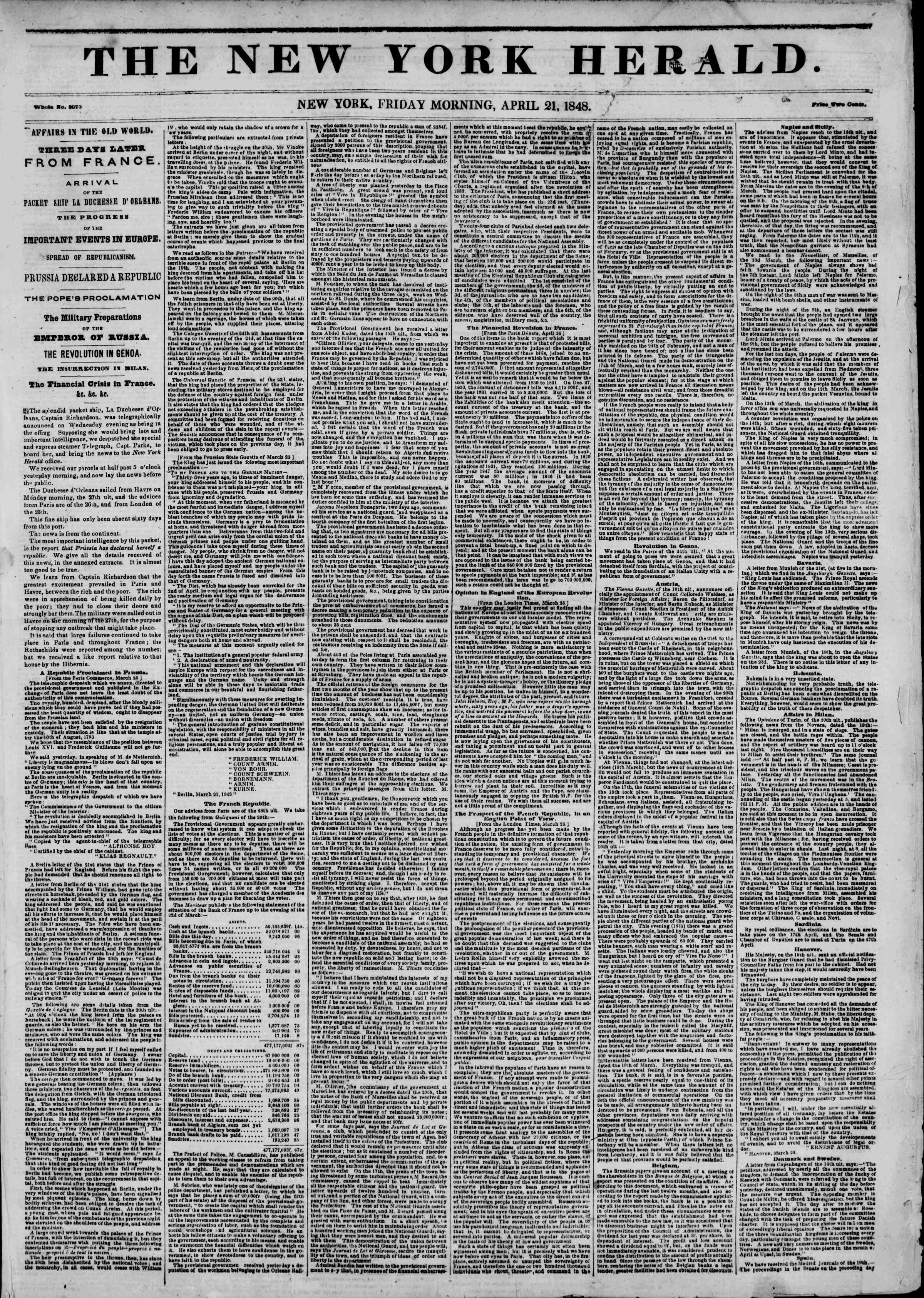 Newspaper of The New York Herald dated April 21, 1848 Page 1