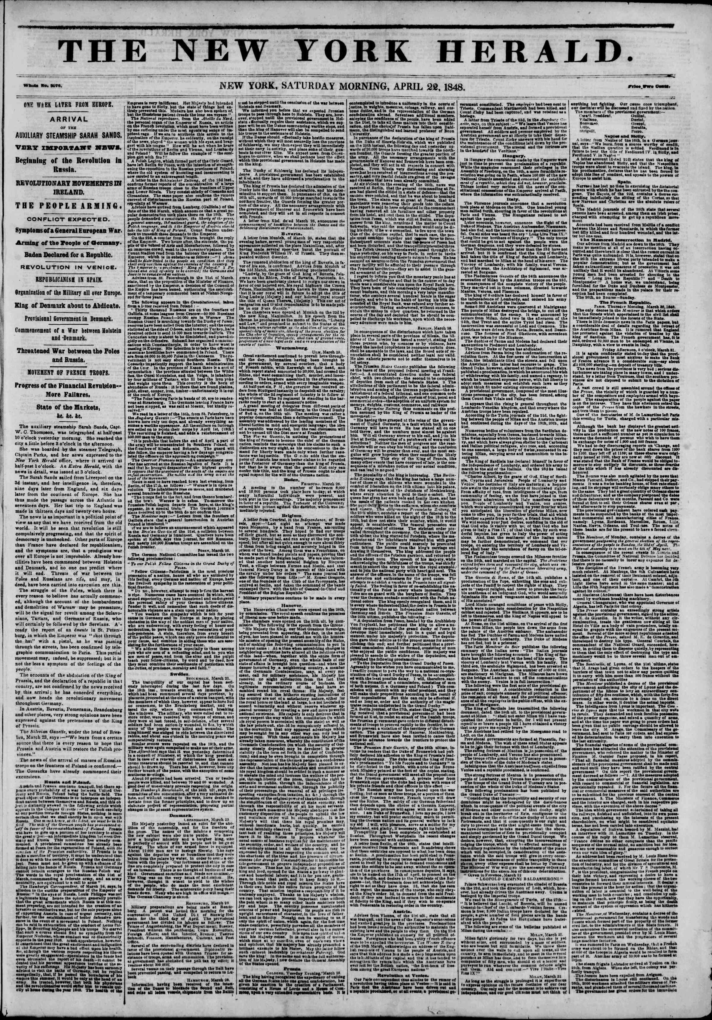 Newspaper of The New York Herald dated April 22, 1848 Page 1