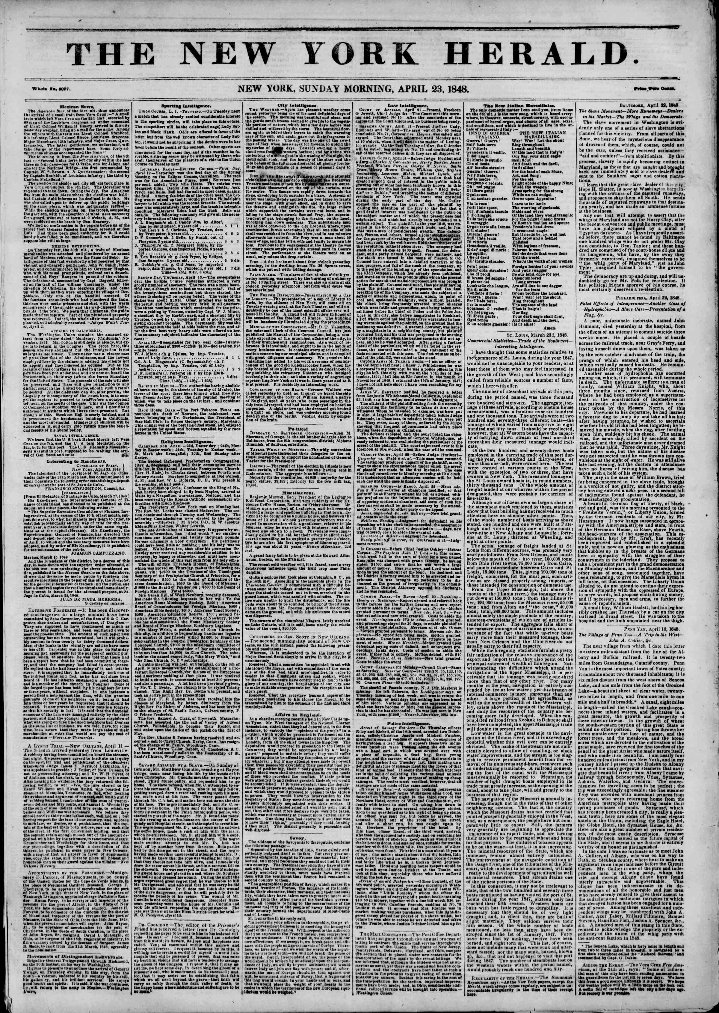 Newspaper of The New York Herald dated April 23, 1848 Page 1