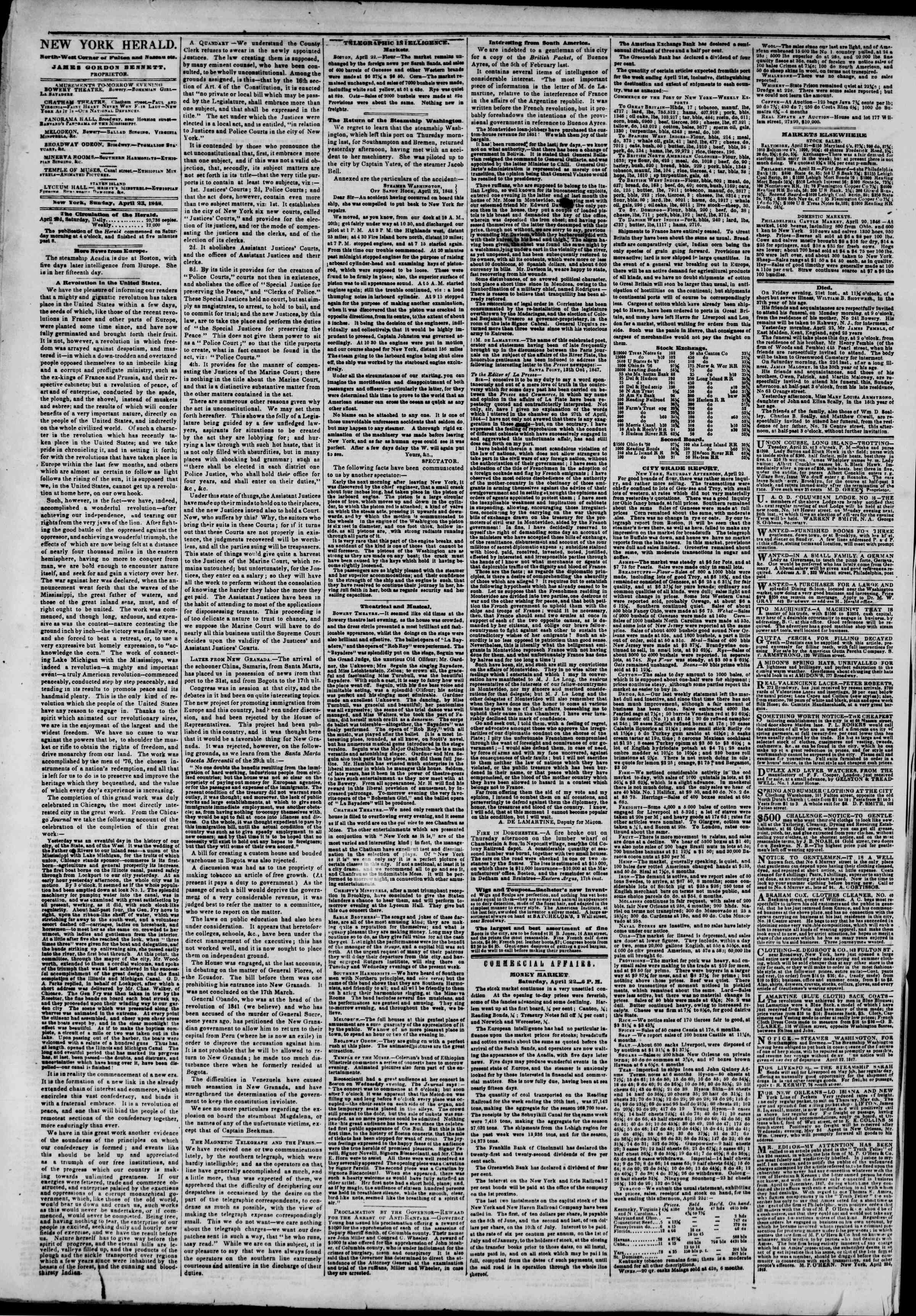 Newspaper of The New York Herald dated April 23, 1848 Page 2