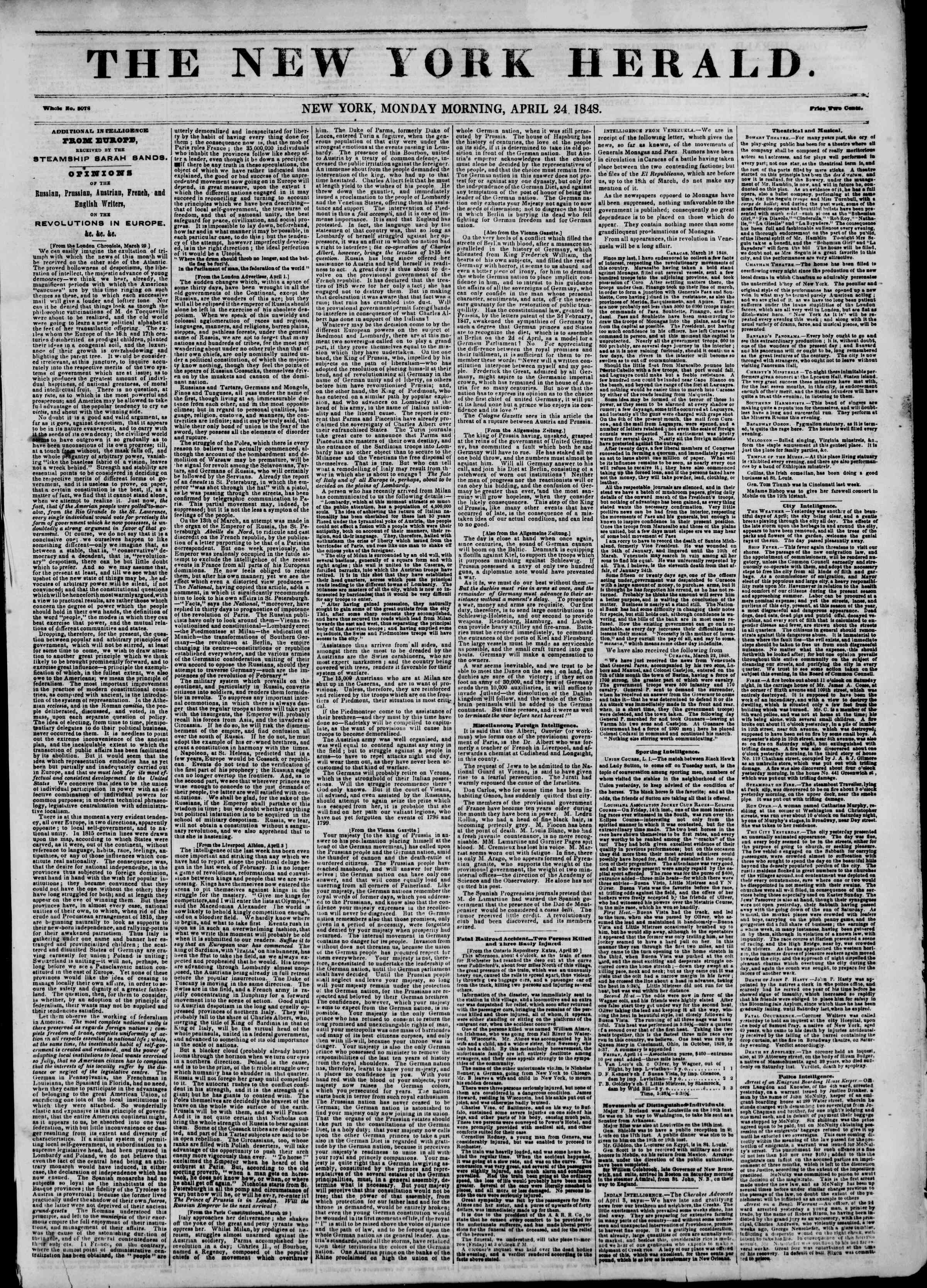 Newspaper of The New York Herald dated April 24, 1848 Page 1