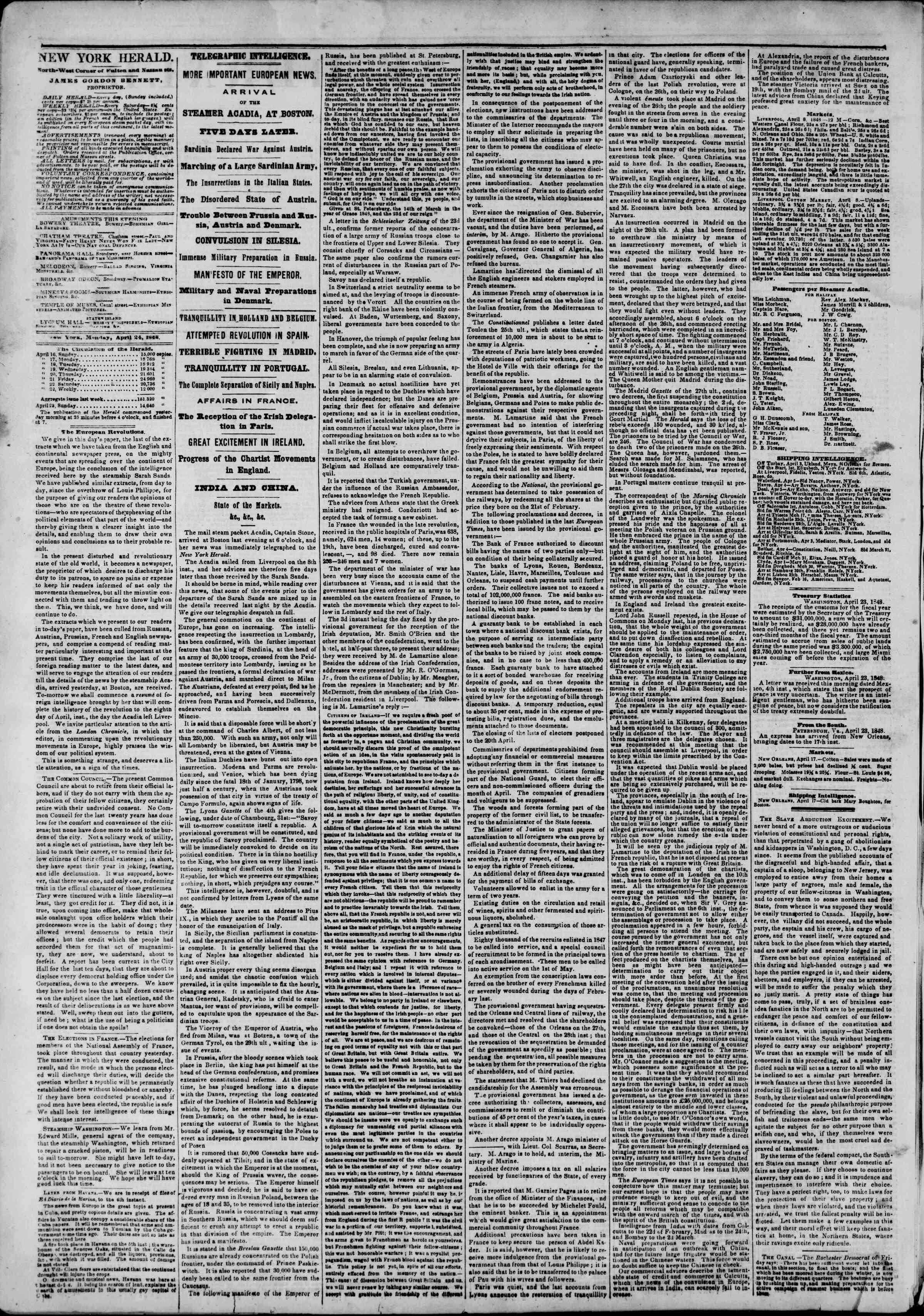 Newspaper of The New York Herald dated April 24, 1848 Page 2