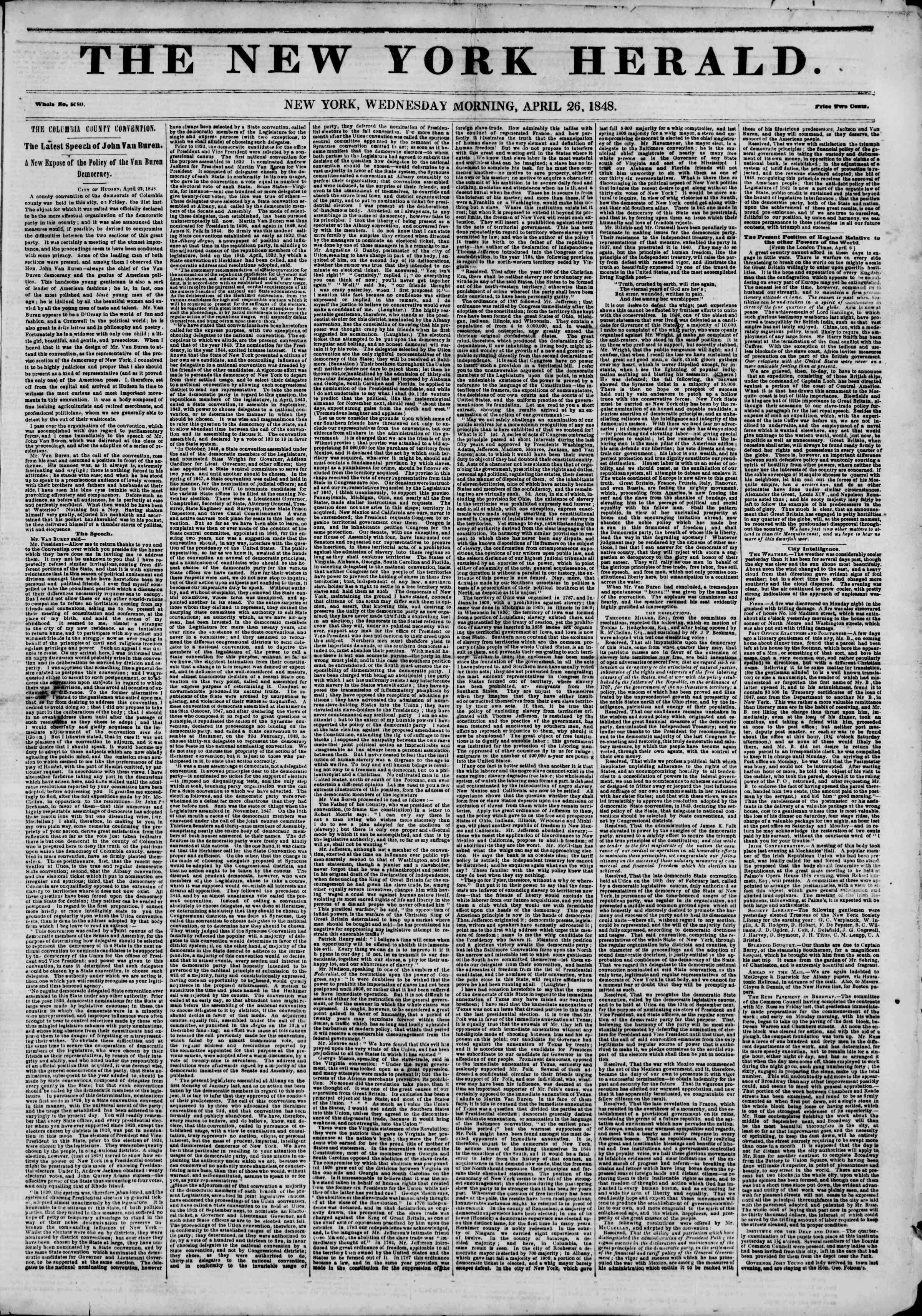 Newspaper of The New York Herald dated April 26, 1848 Page 1