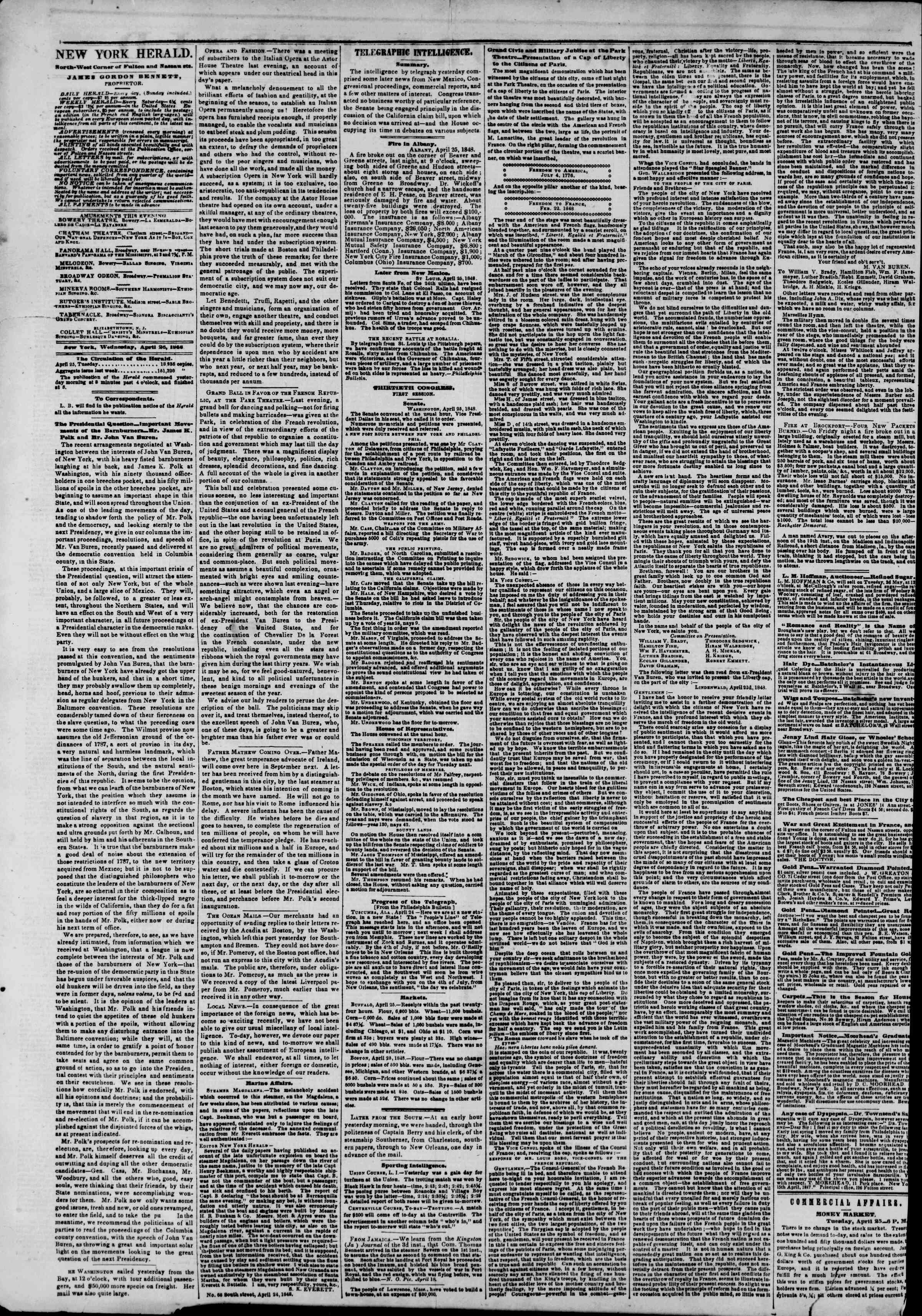 Newspaper of The New York Herald dated April 26, 1848 Page 2