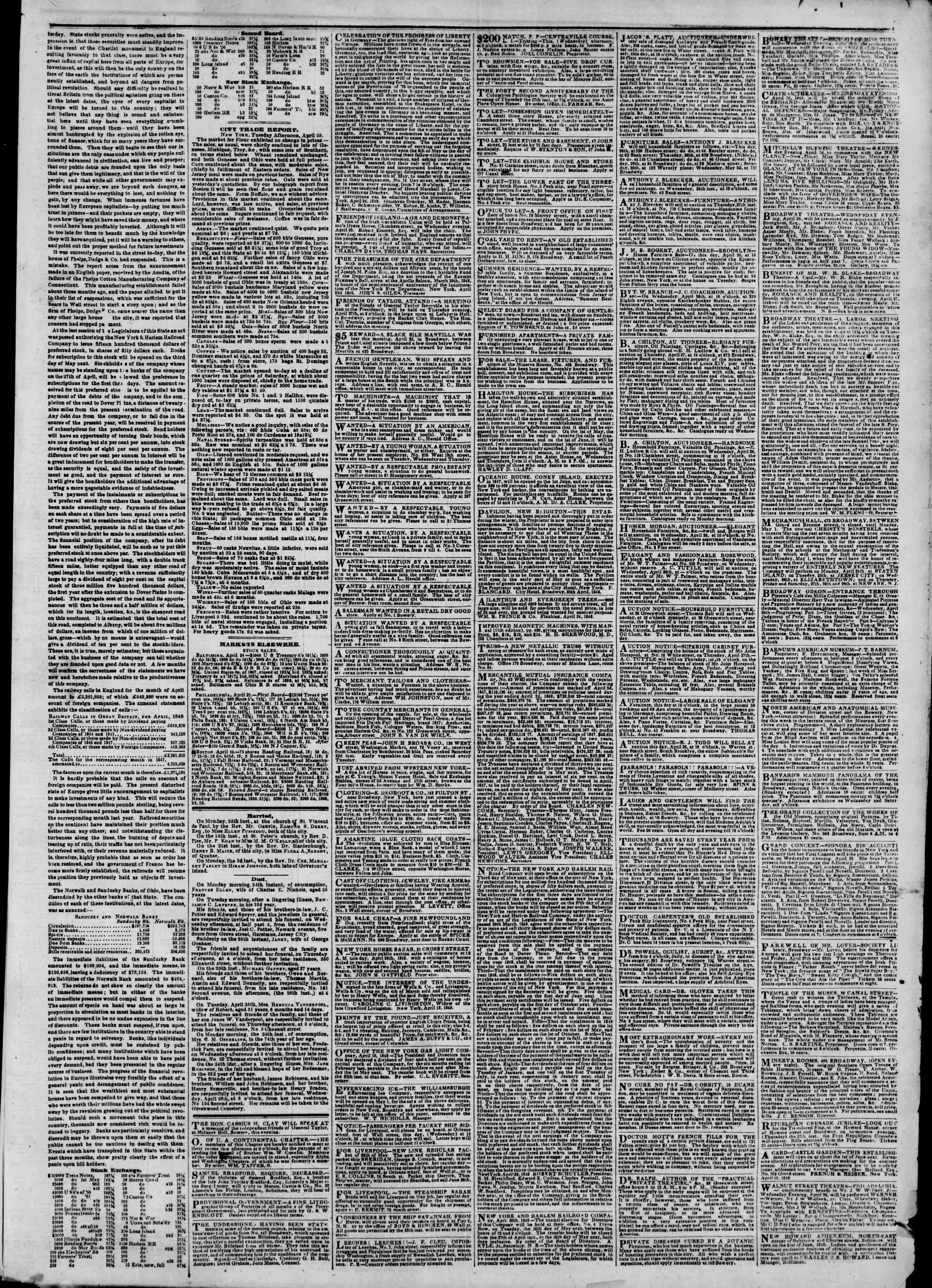 Newspaper of The New York Herald dated April 26, 1848 Page 3
