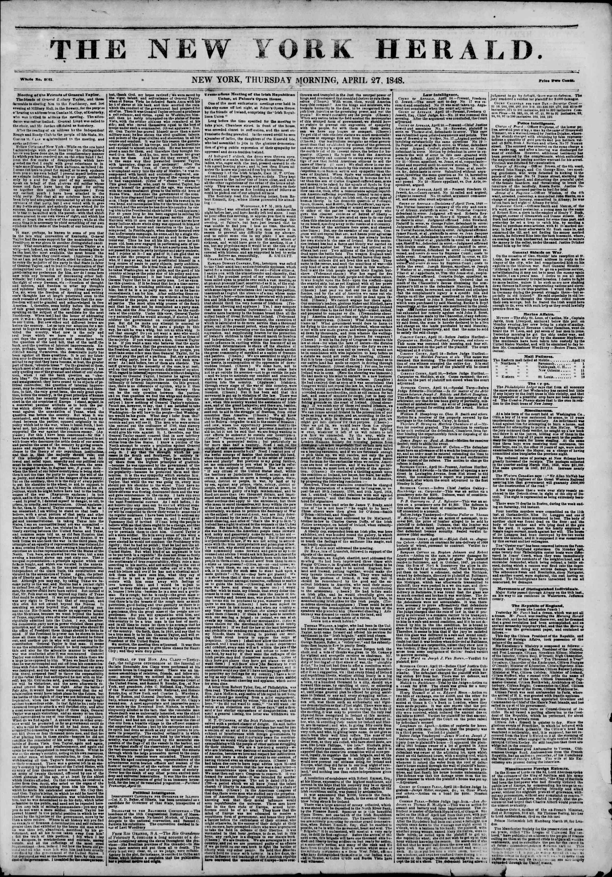 Newspaper of The New York Herald dated April 27, 1848 Page 1