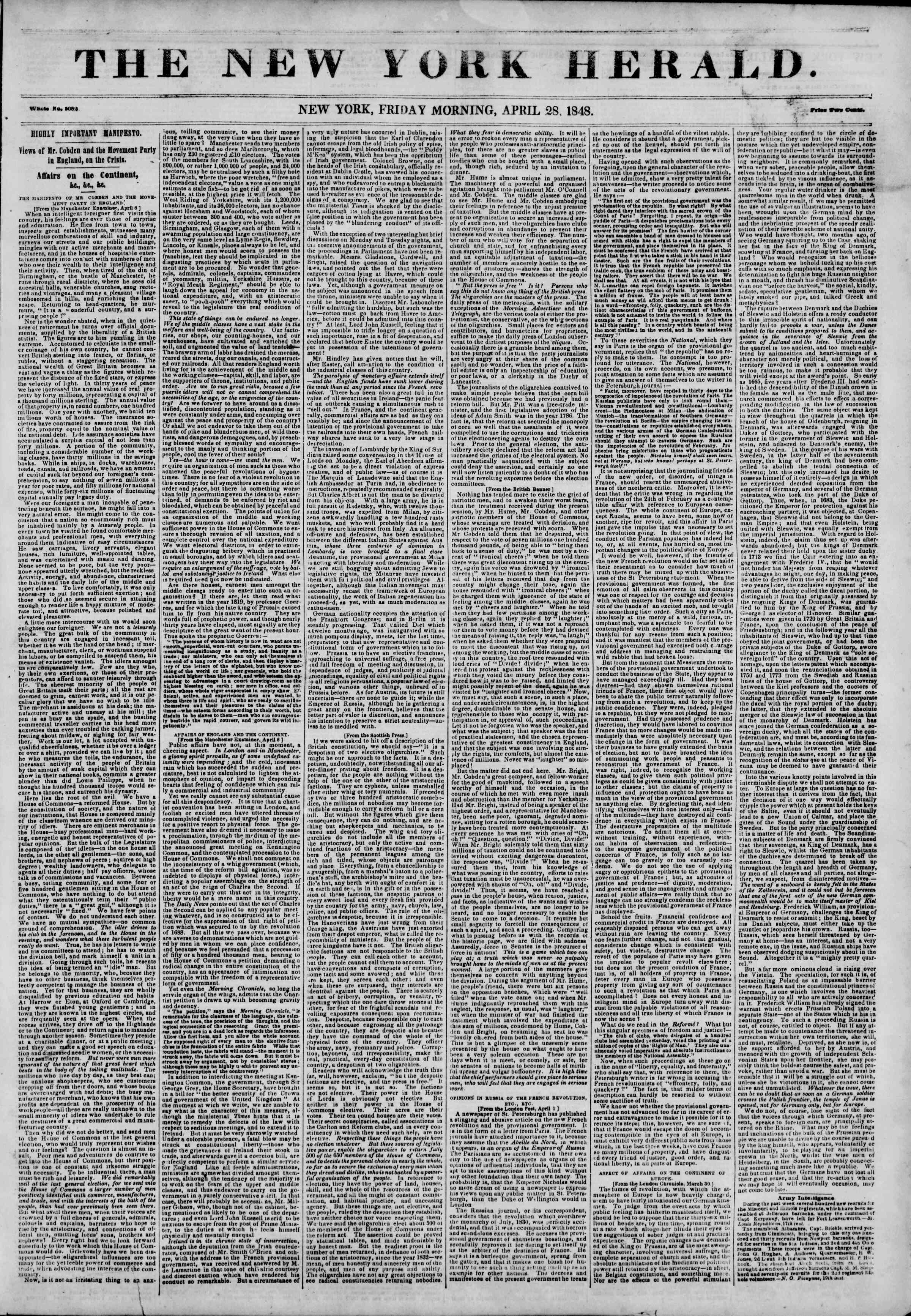Newspaper of The New York Herald dated April 28, 1848 Page 1