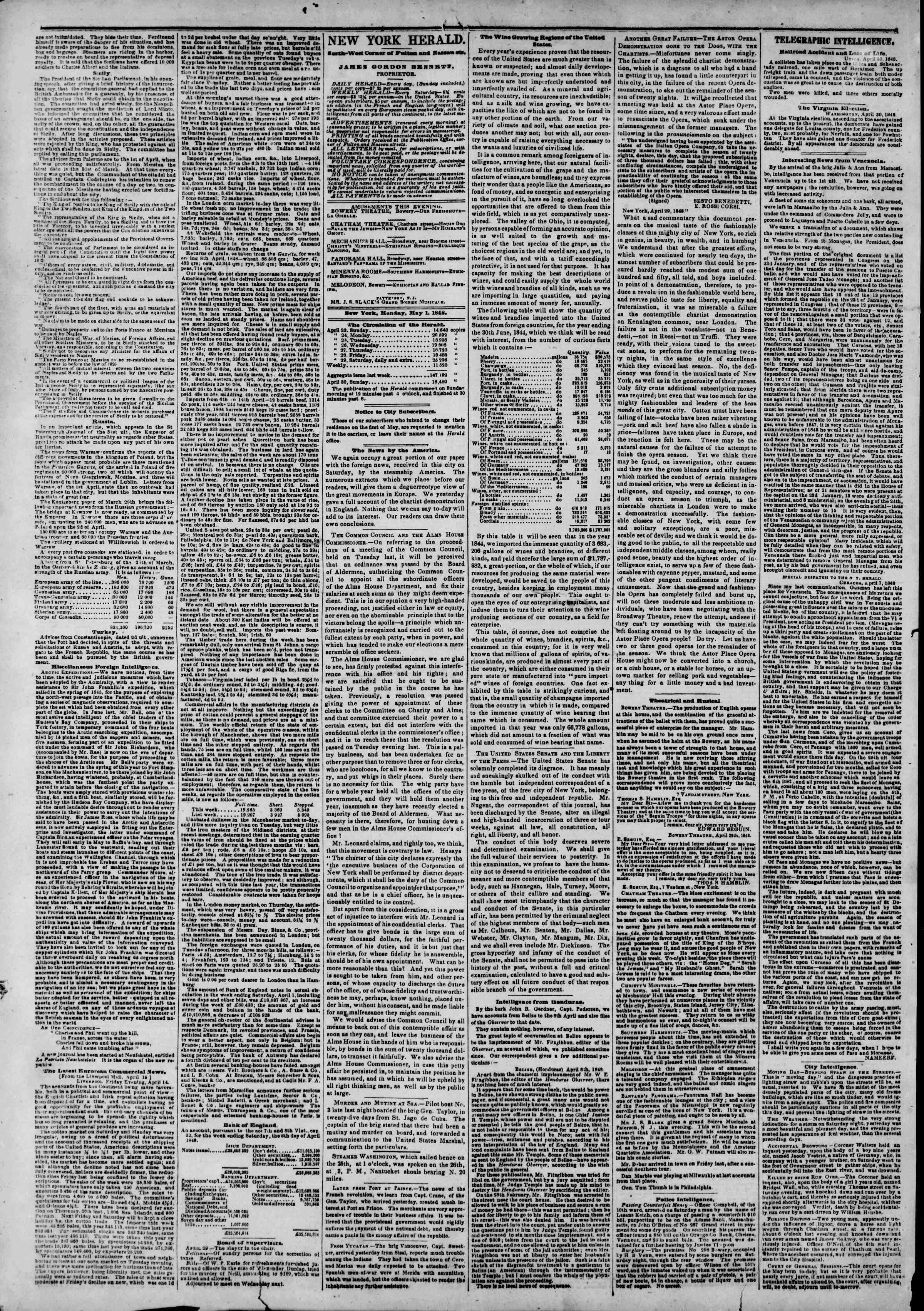 Newspaper of The New York Herald dated May 1, 1848 Page 2