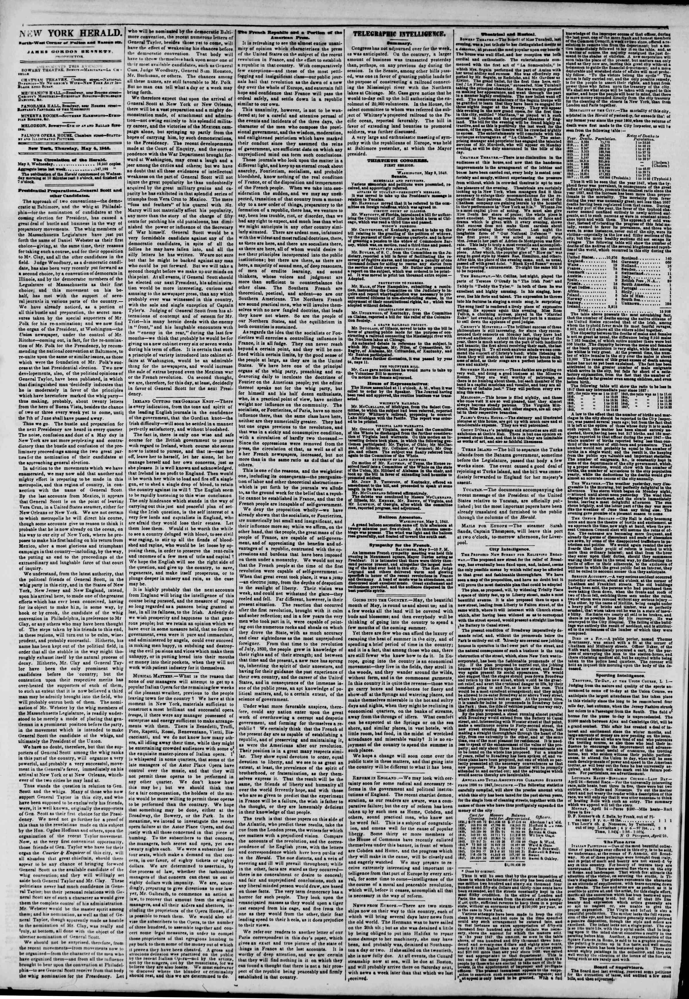 Newspaper of The New York Herald dated May 4, 1848 Page 2