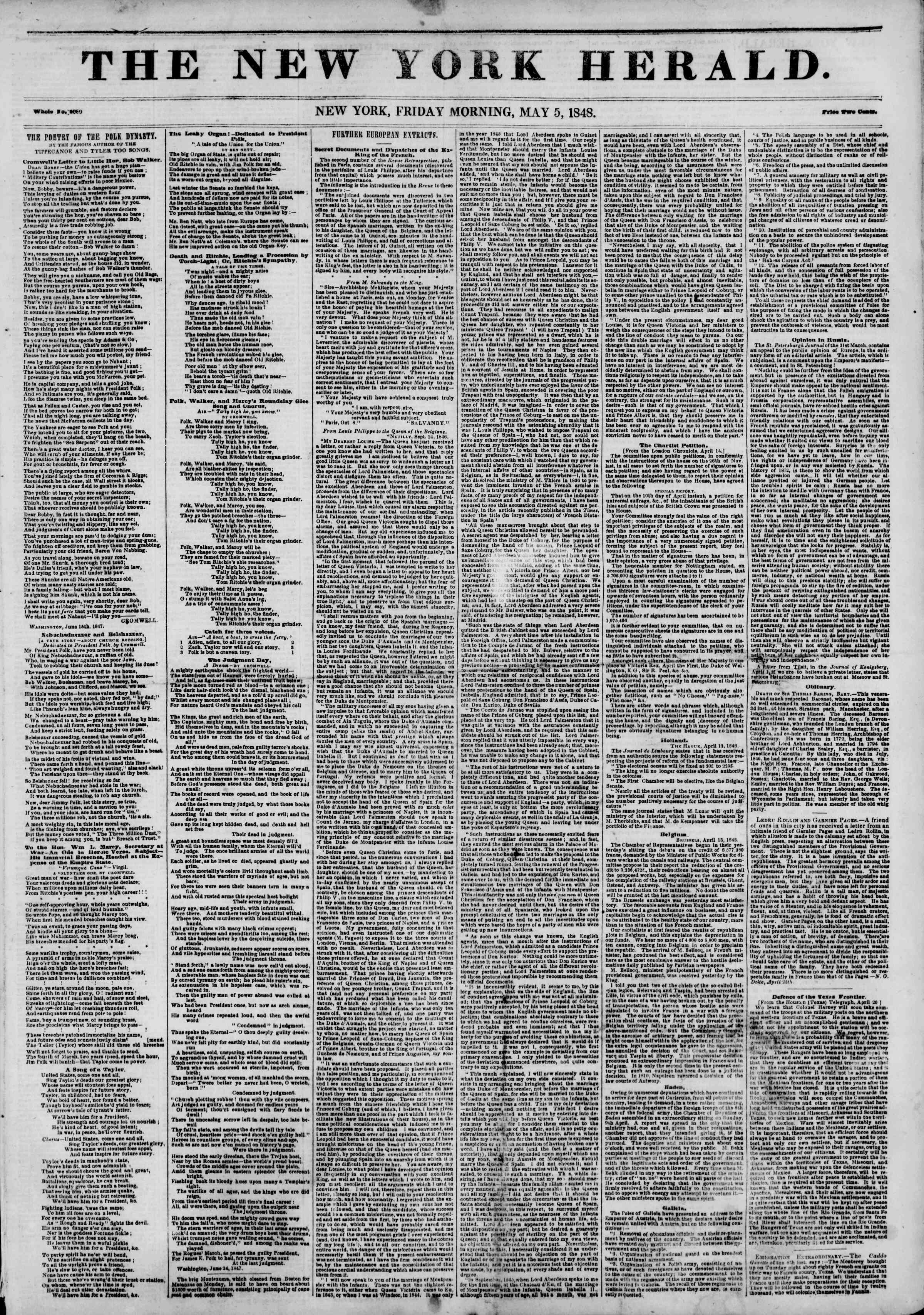 Newspaper of The New York Herald dated May 5, 1848 Page 1