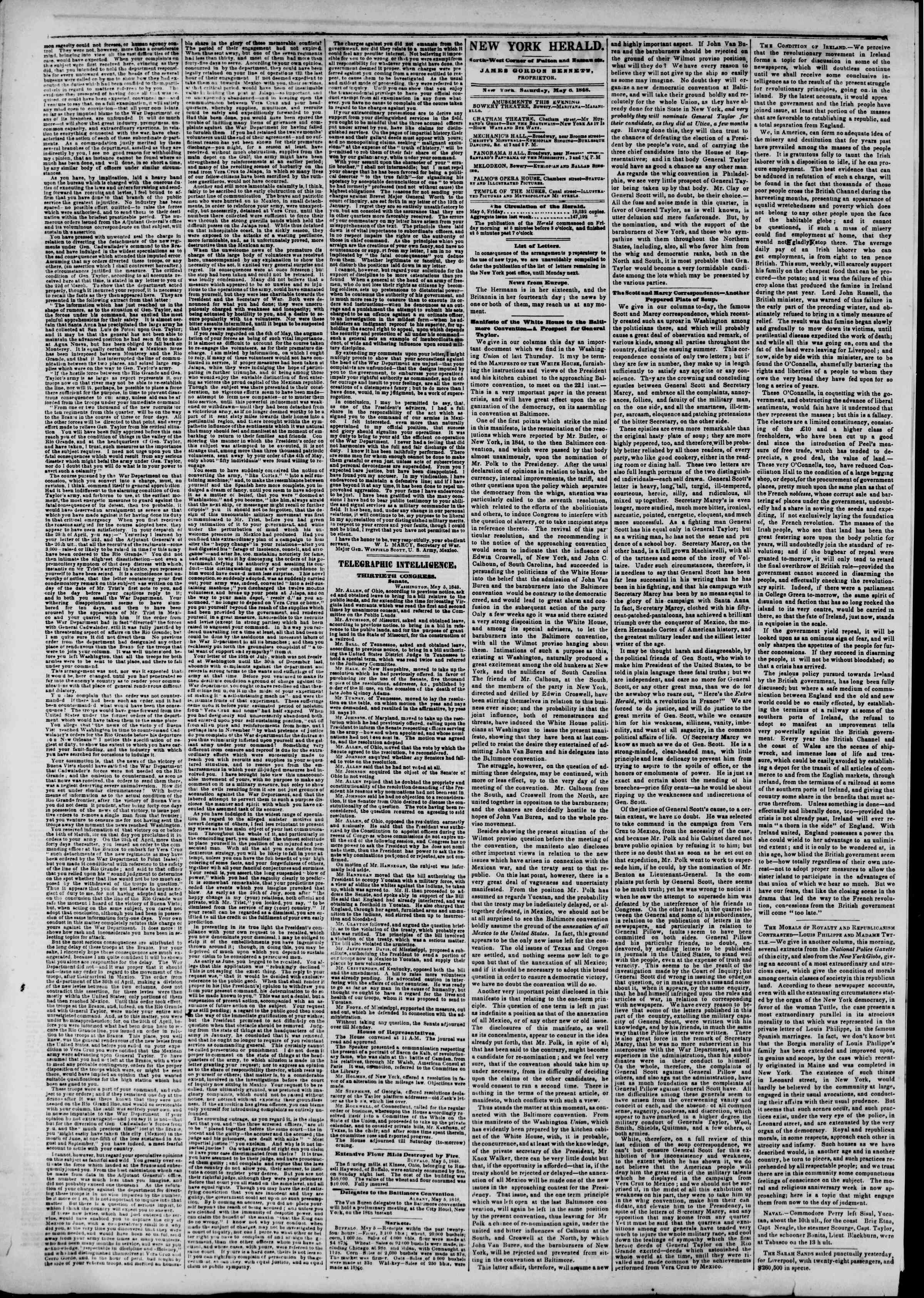 Newspaper of The New York Herald dated May 6, 1848 Page 2