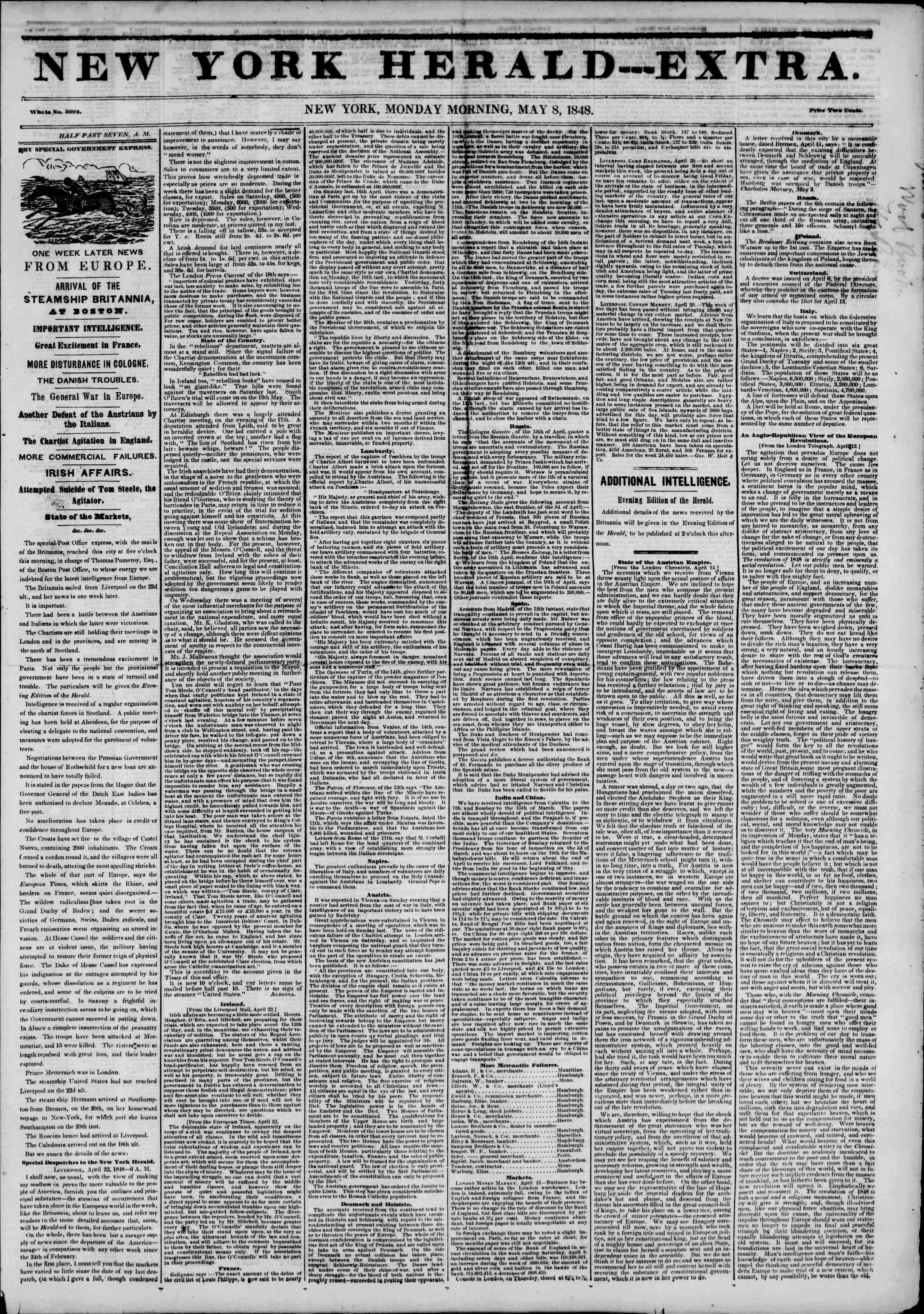 Newspaper of The New York Herald dated May 8, 1848 Page 1