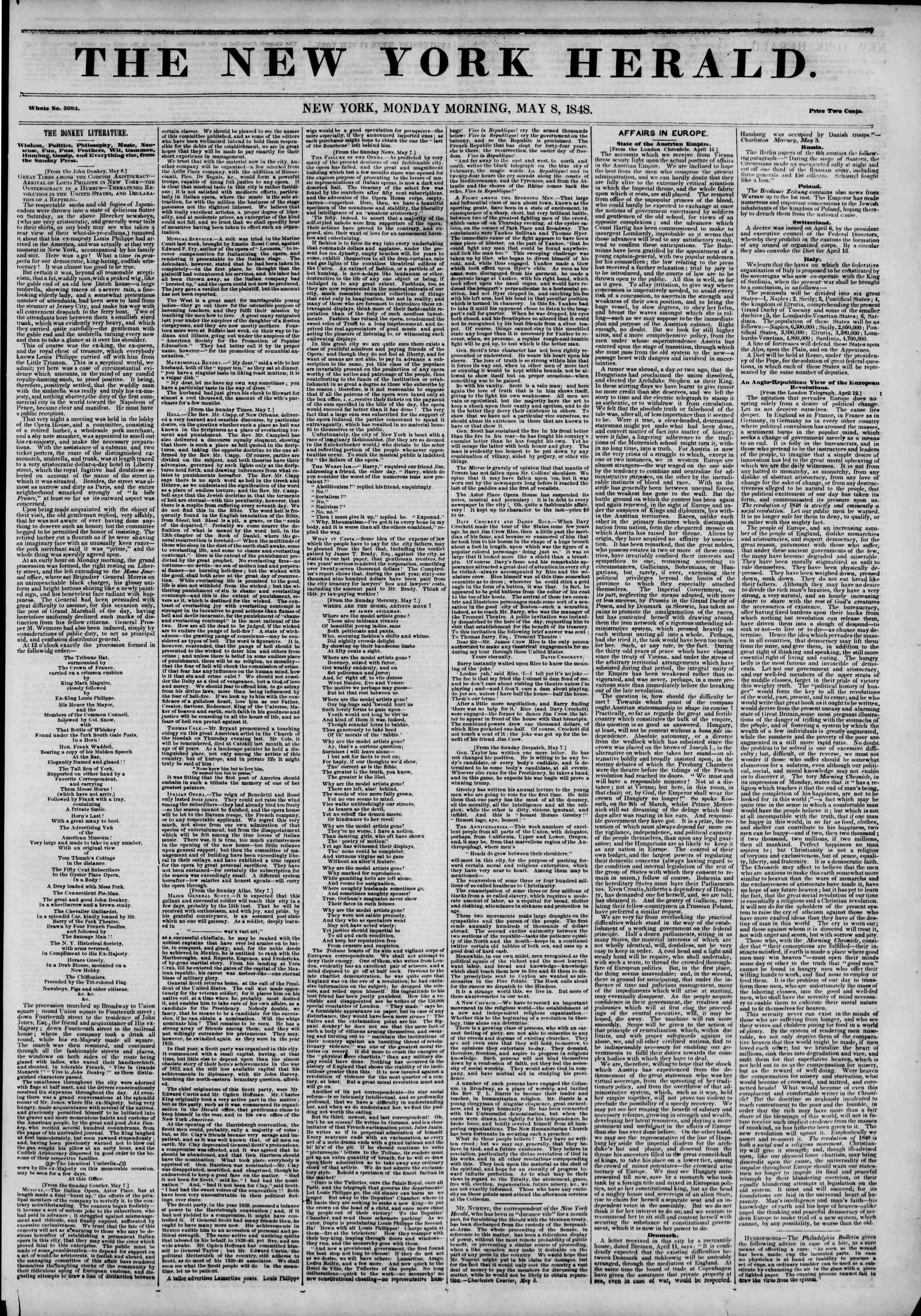 Newspaper of The New York Herald dated May 8, 1848 Page 3