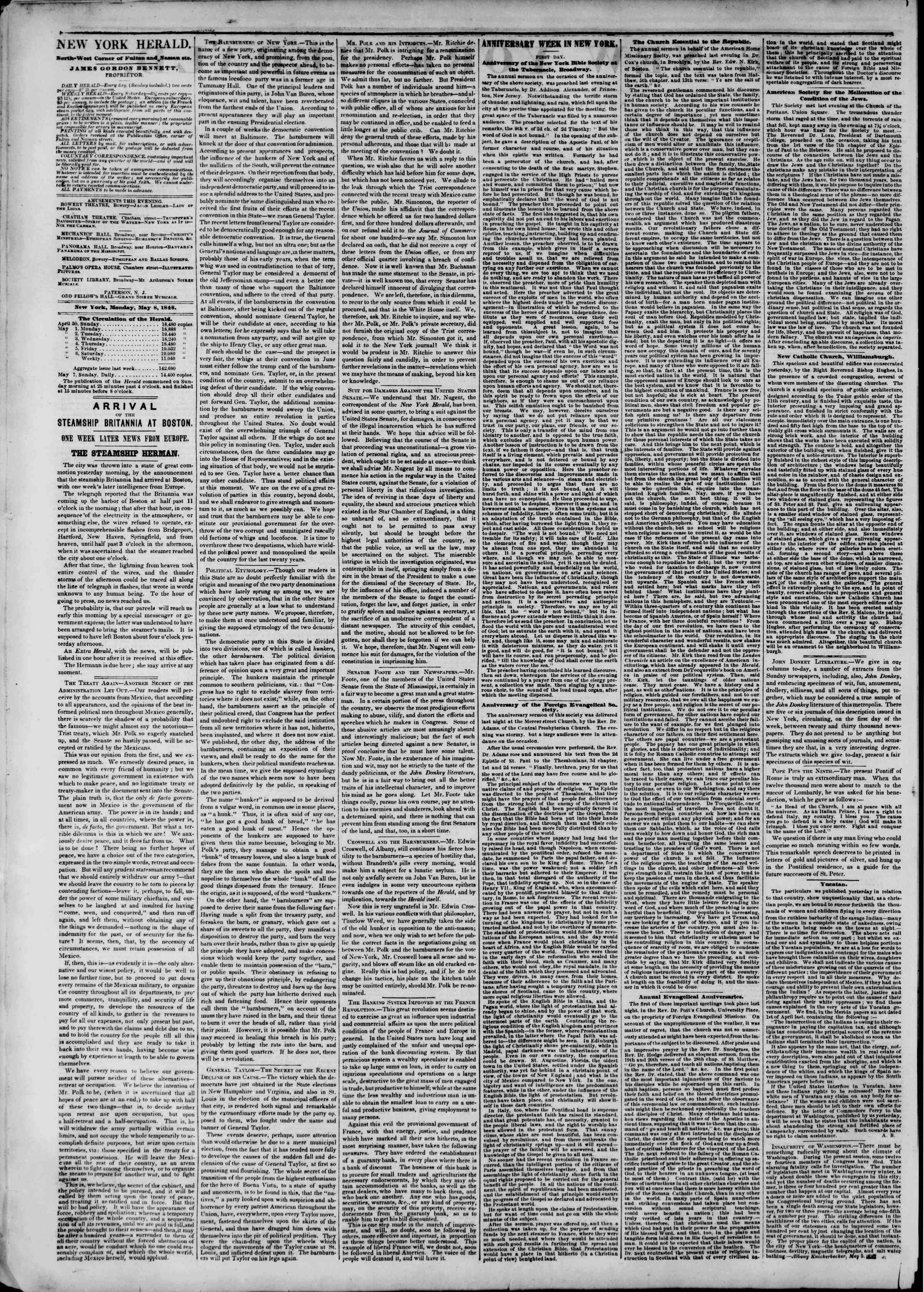 Newspaper of The New York Herald dated May 8, 1848 Page 4