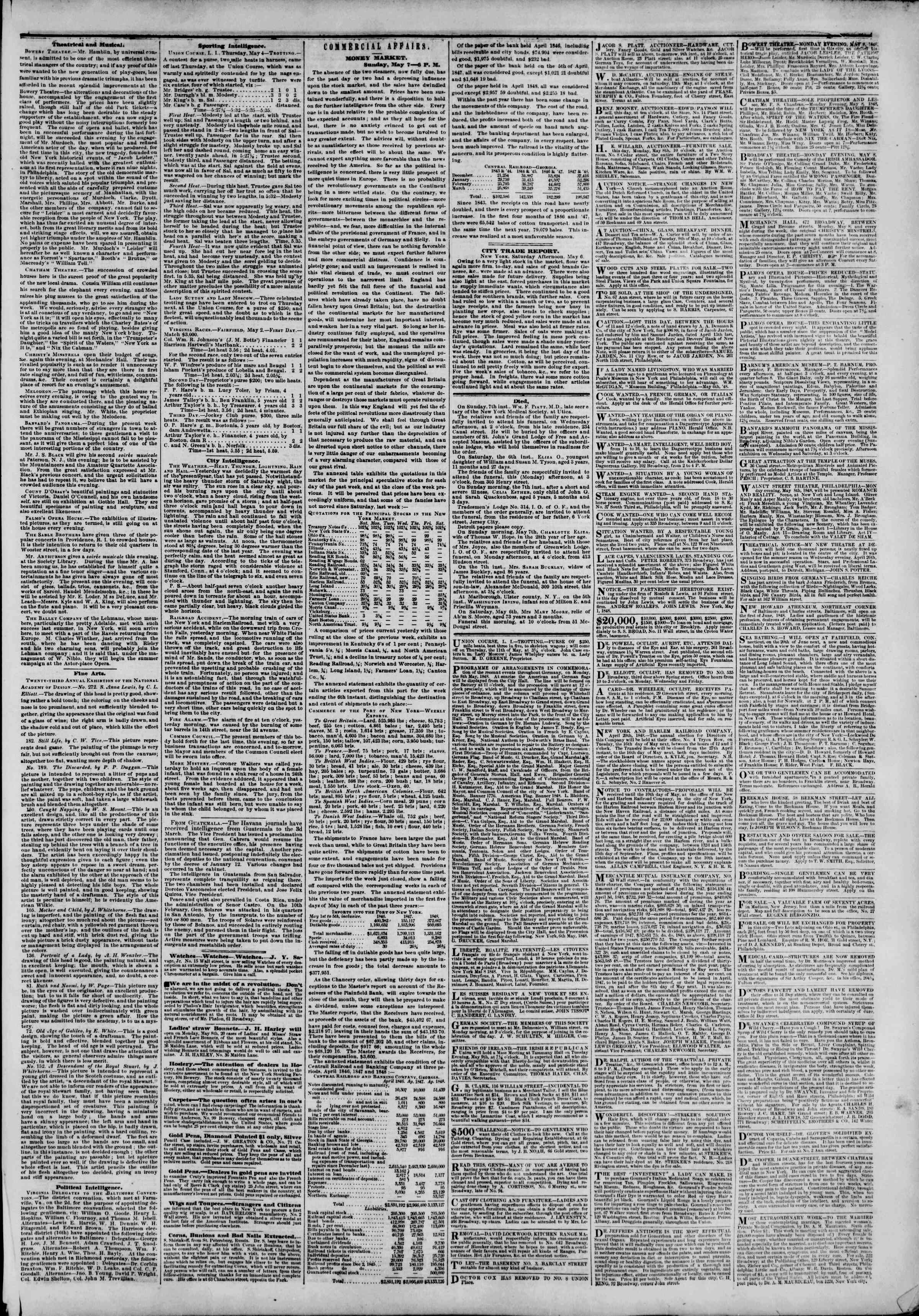 Newspaper of The New York Herald dated May 8, 1848 Page 5