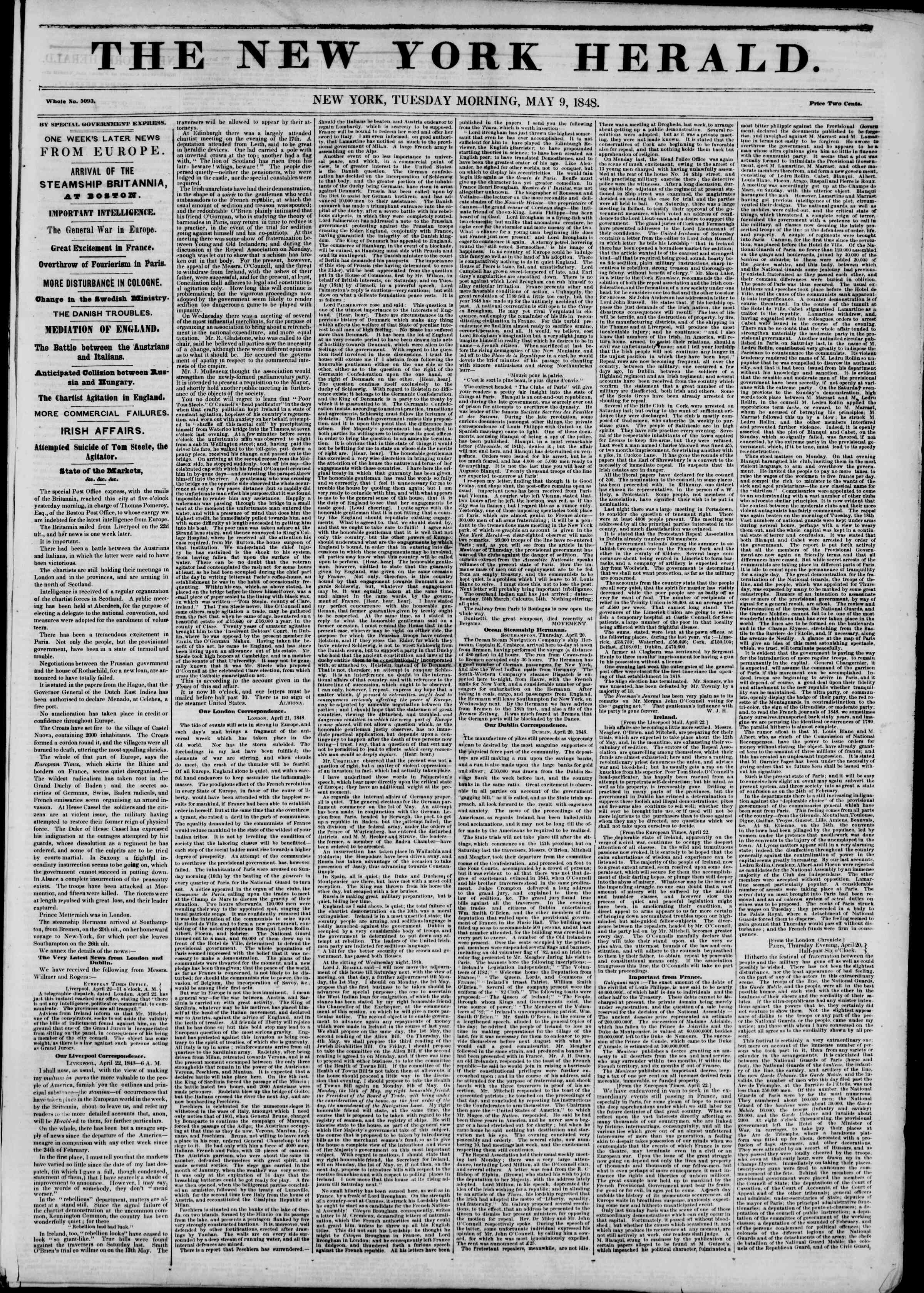 Newspaper of The New York Herald dated May 9, 1848 Page 1