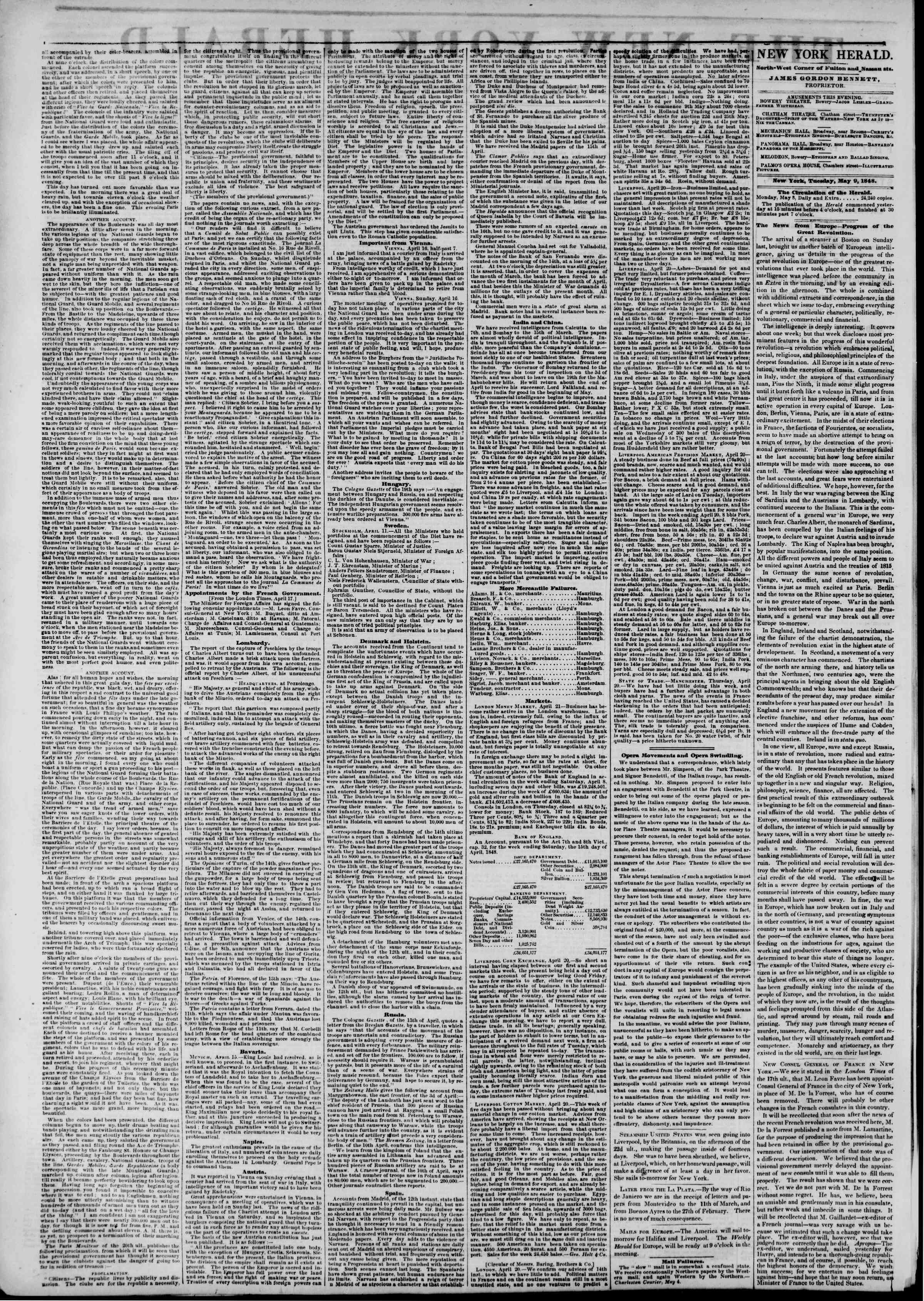 Newspaper of The New York Herald dated May 9, 1848 Page 2