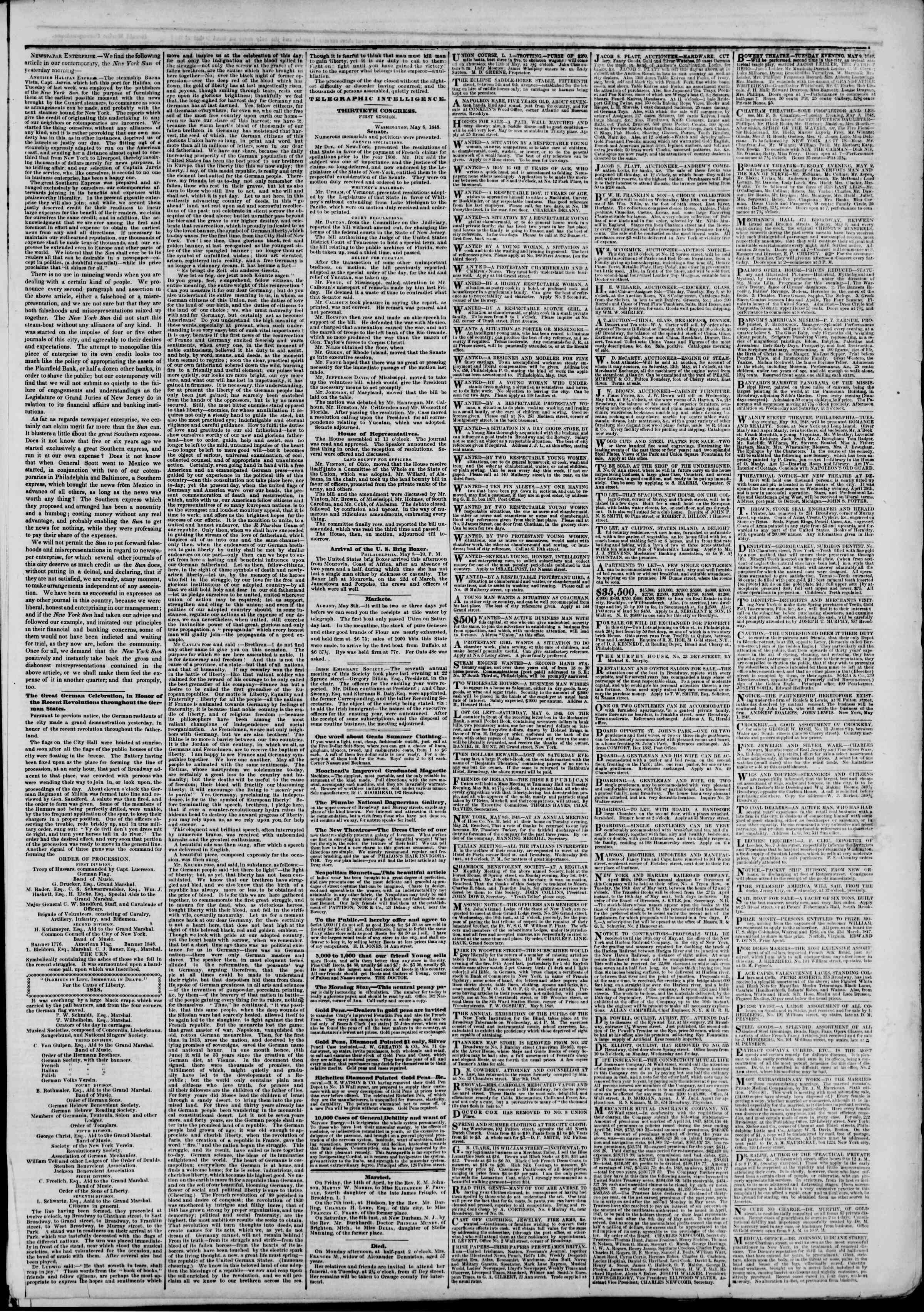 Newspaper of The New York Herald dated May 9, 1848 Page 3