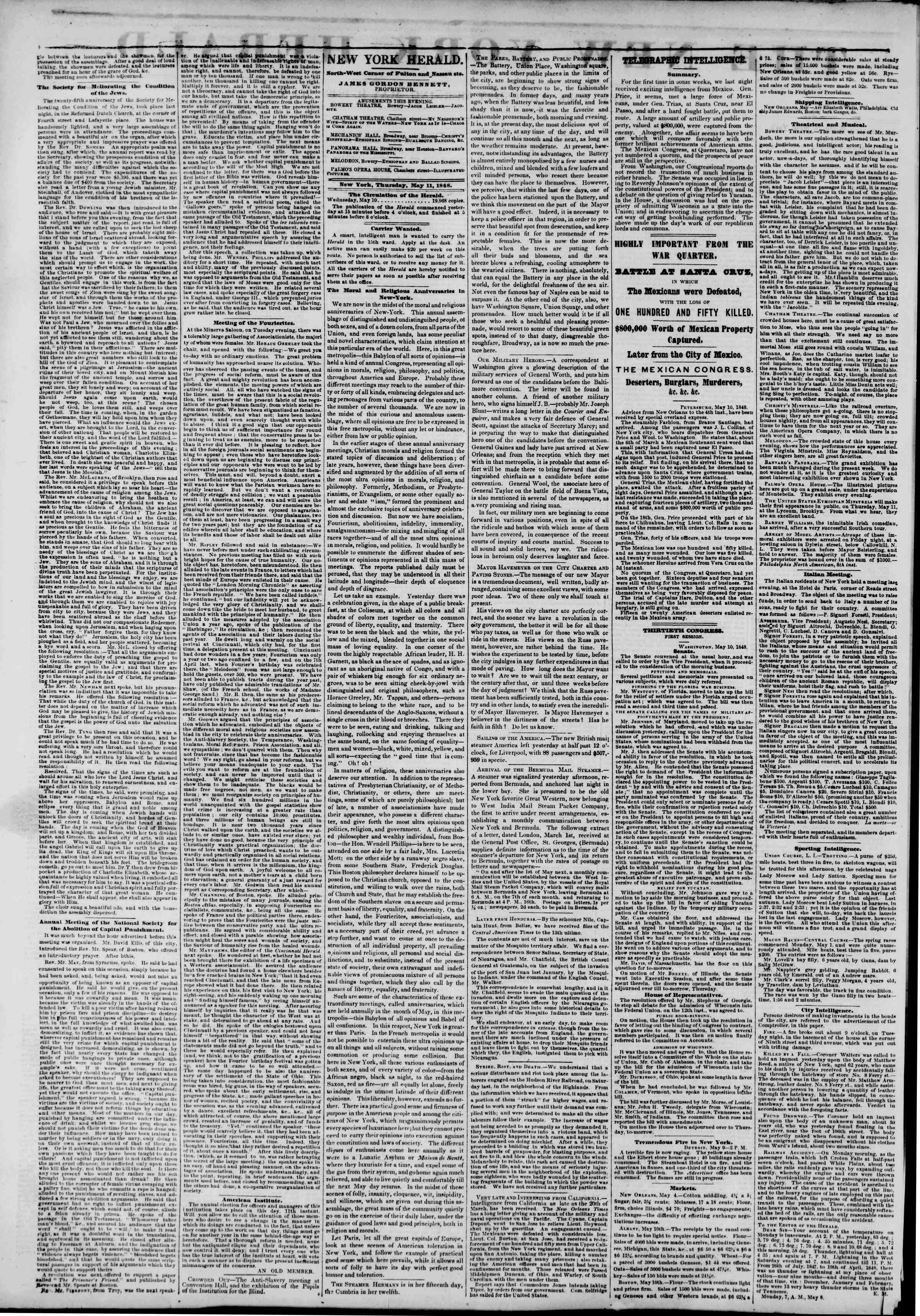 Newspaper of The New York Herald dated May 11, 1848 Page 2