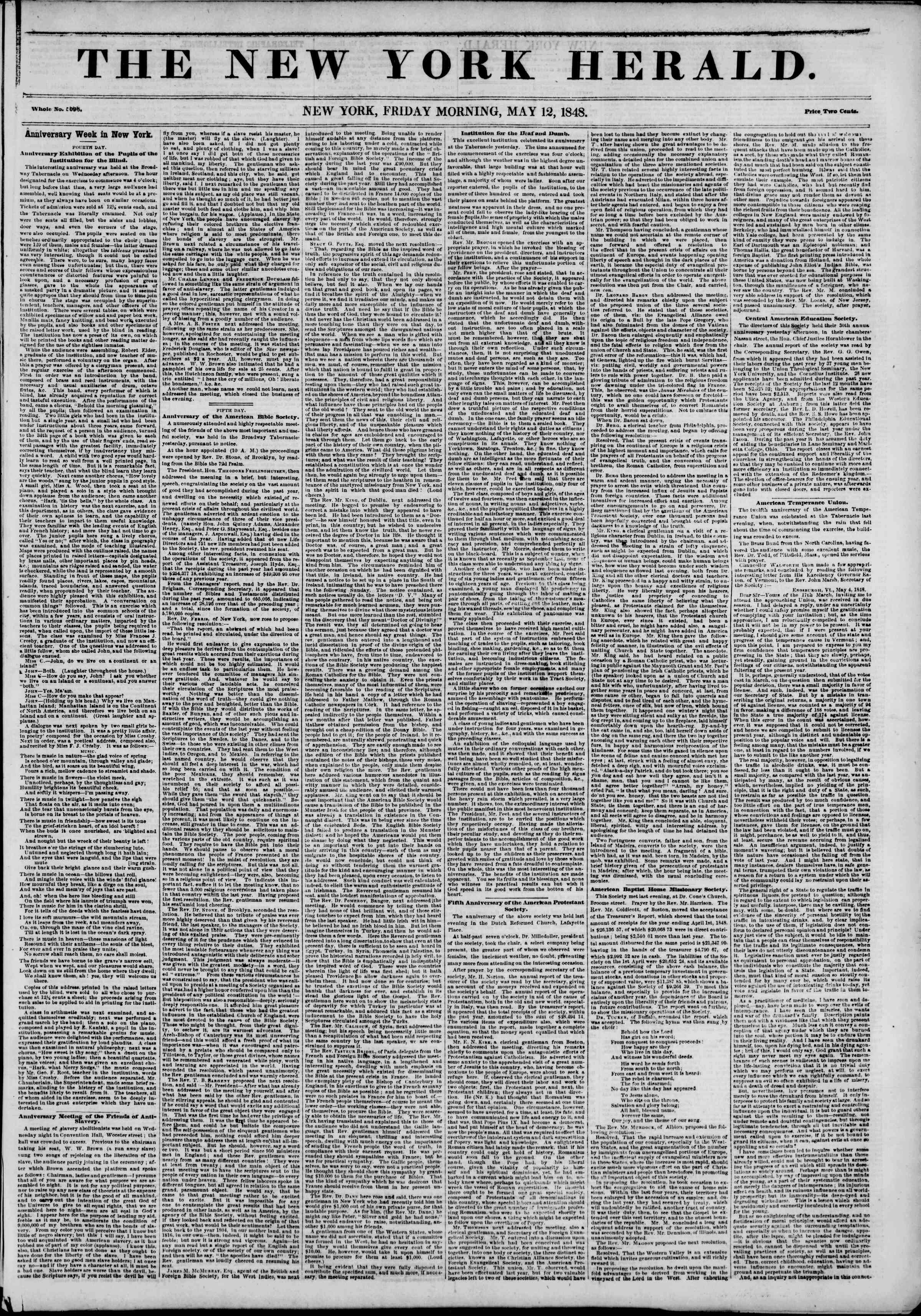 Newspaper of The New York Herald dated May 12, 1848 Page 1