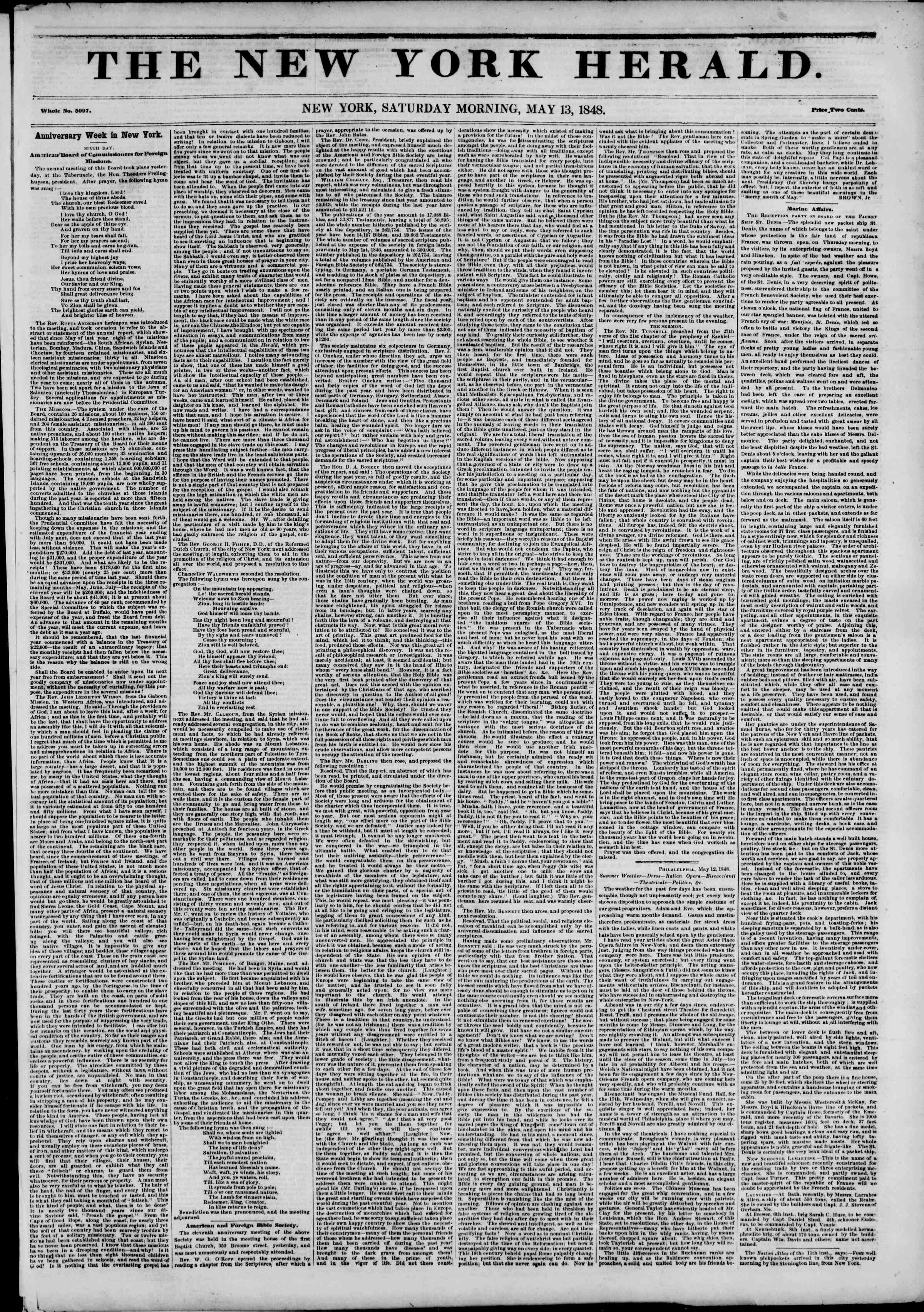 Newspaper of The New York Herald dated May 13, 1848 Page 1