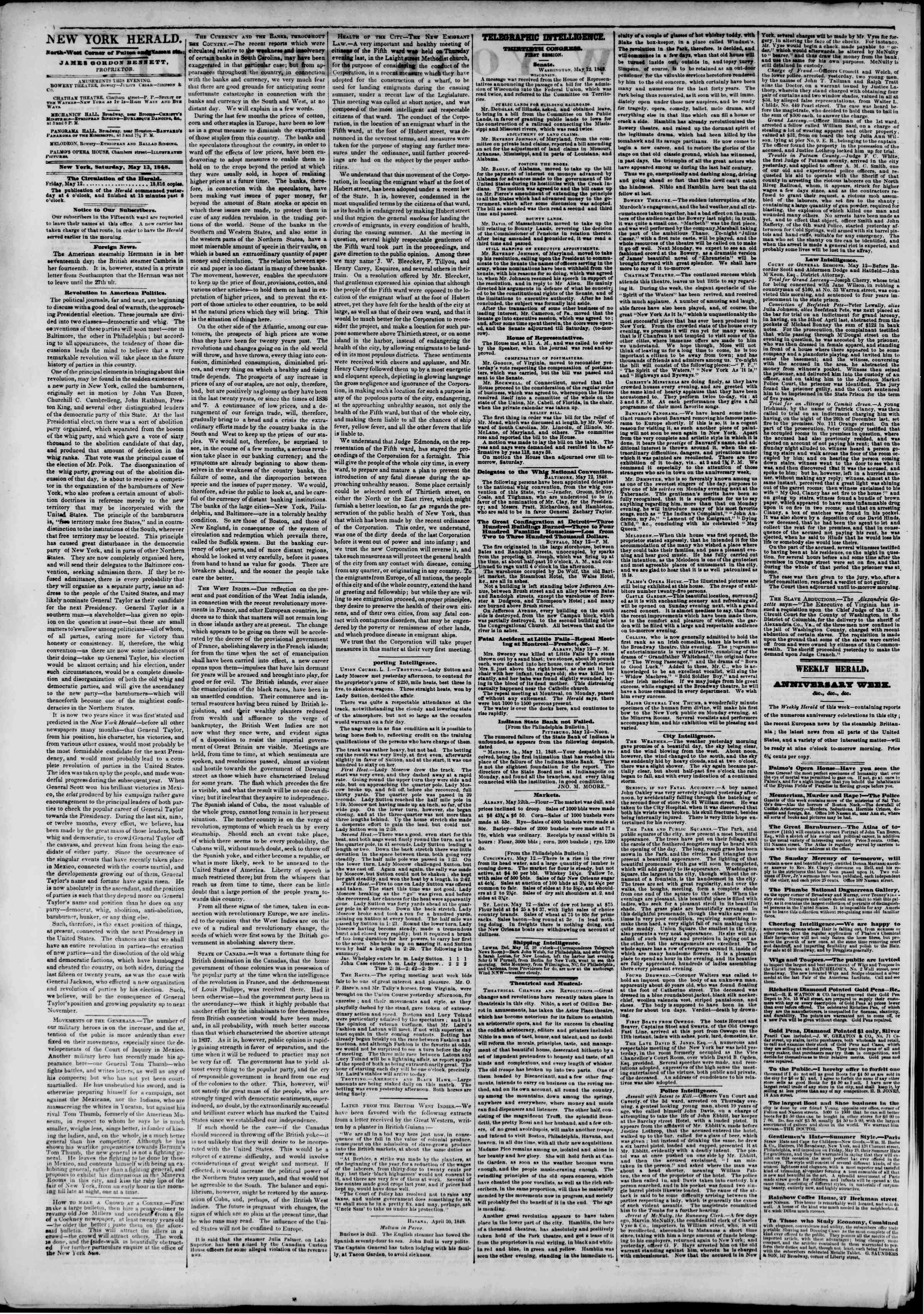 Newspaper of The New York Herald dated May 13, 1848 Page 2