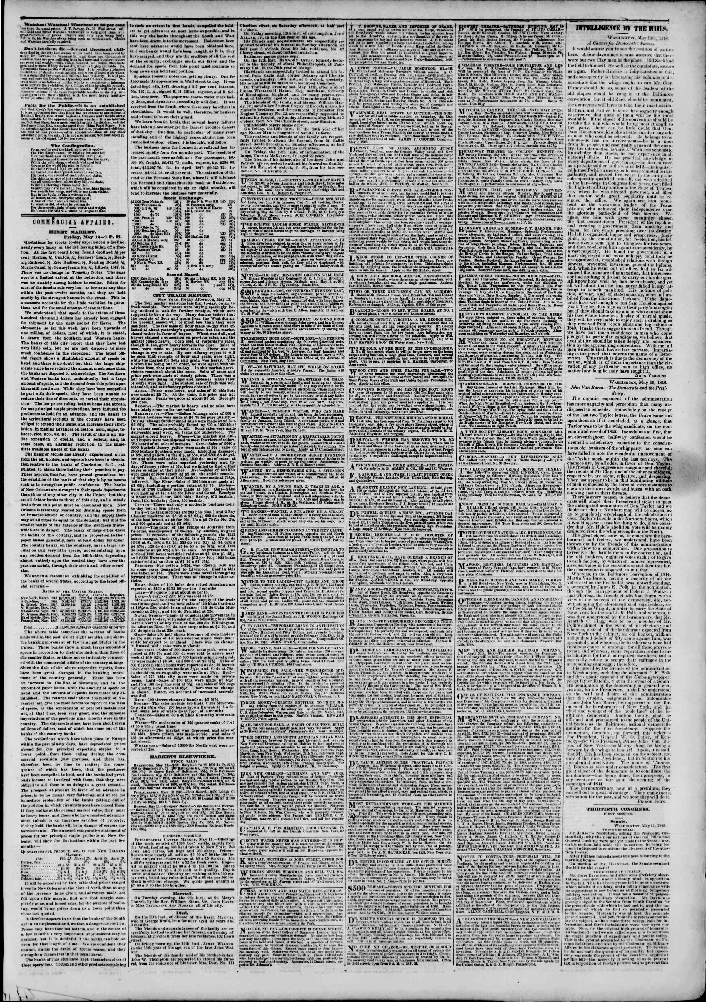 Newspaper of The New York Herald dated May 13, 1848 Page 3