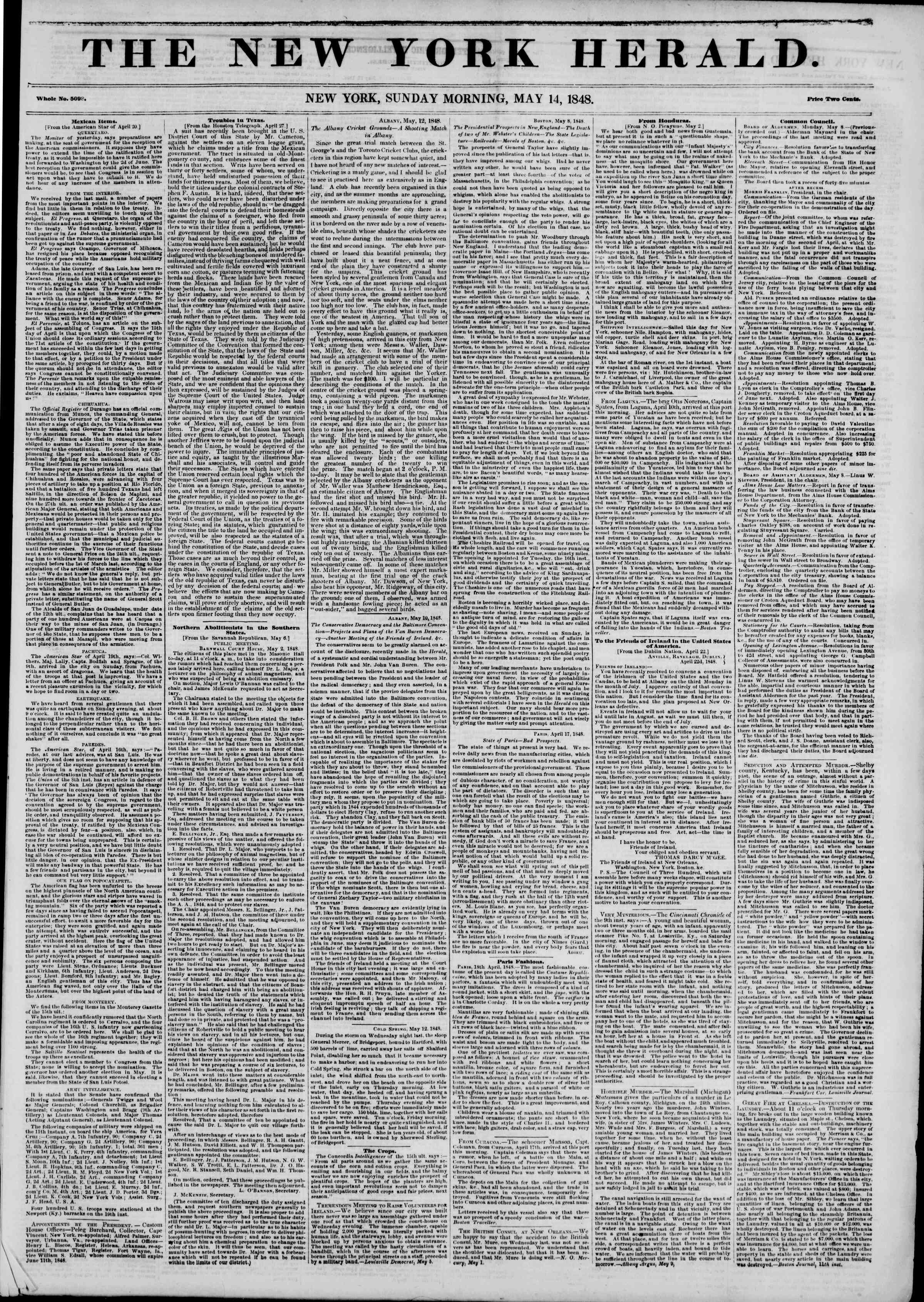 Newspaper of The New York Herald dated May 14, 1848 Page 1