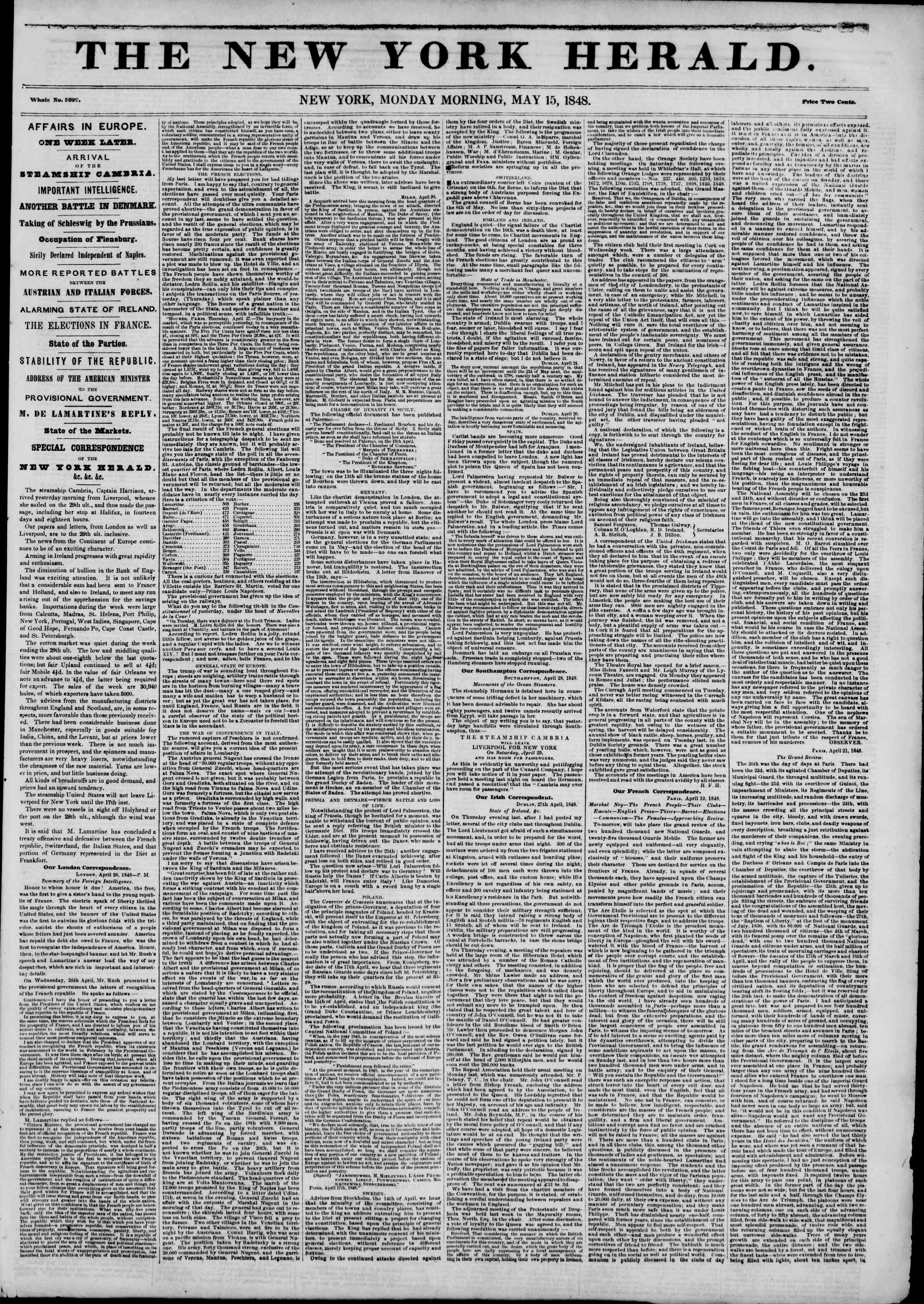 Newspaper of The New York Herald dated May 15, 1848 Page 1