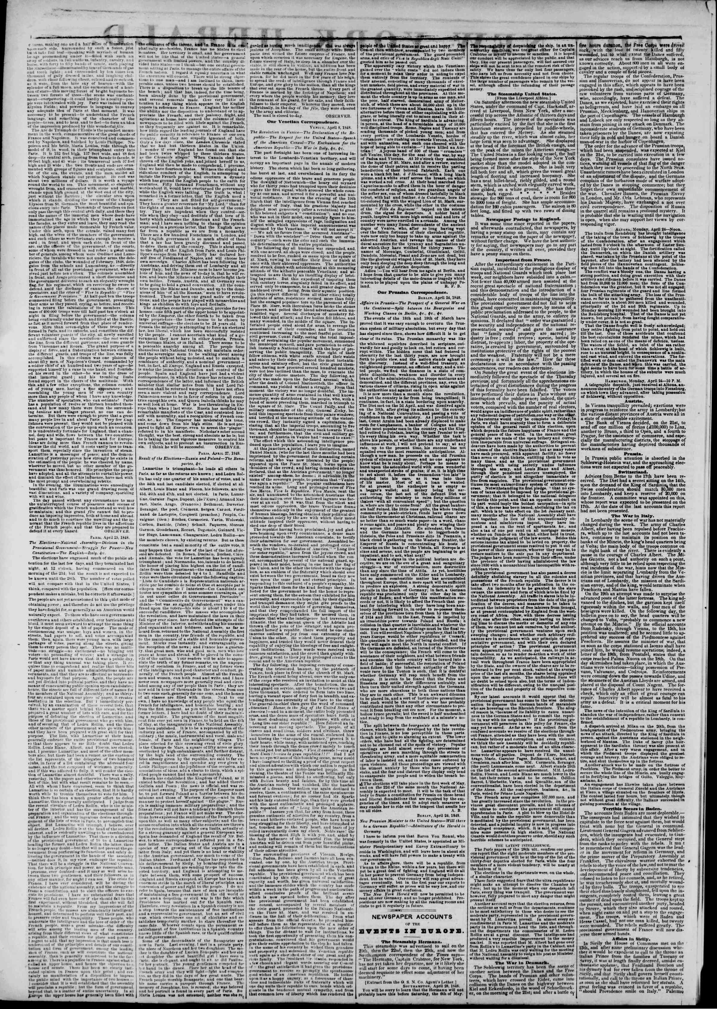 Newspaper of The New York Herald dated May 15, 1848 Page 2